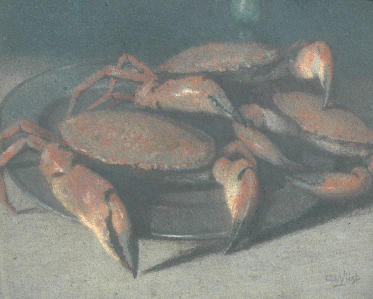 Vlist L. van der | Leendert van der Vlist | Watercolours and drawings offered for sale | Still life with crabs, pastel on paper 68.0 x 83.0 cm, signed l.r.