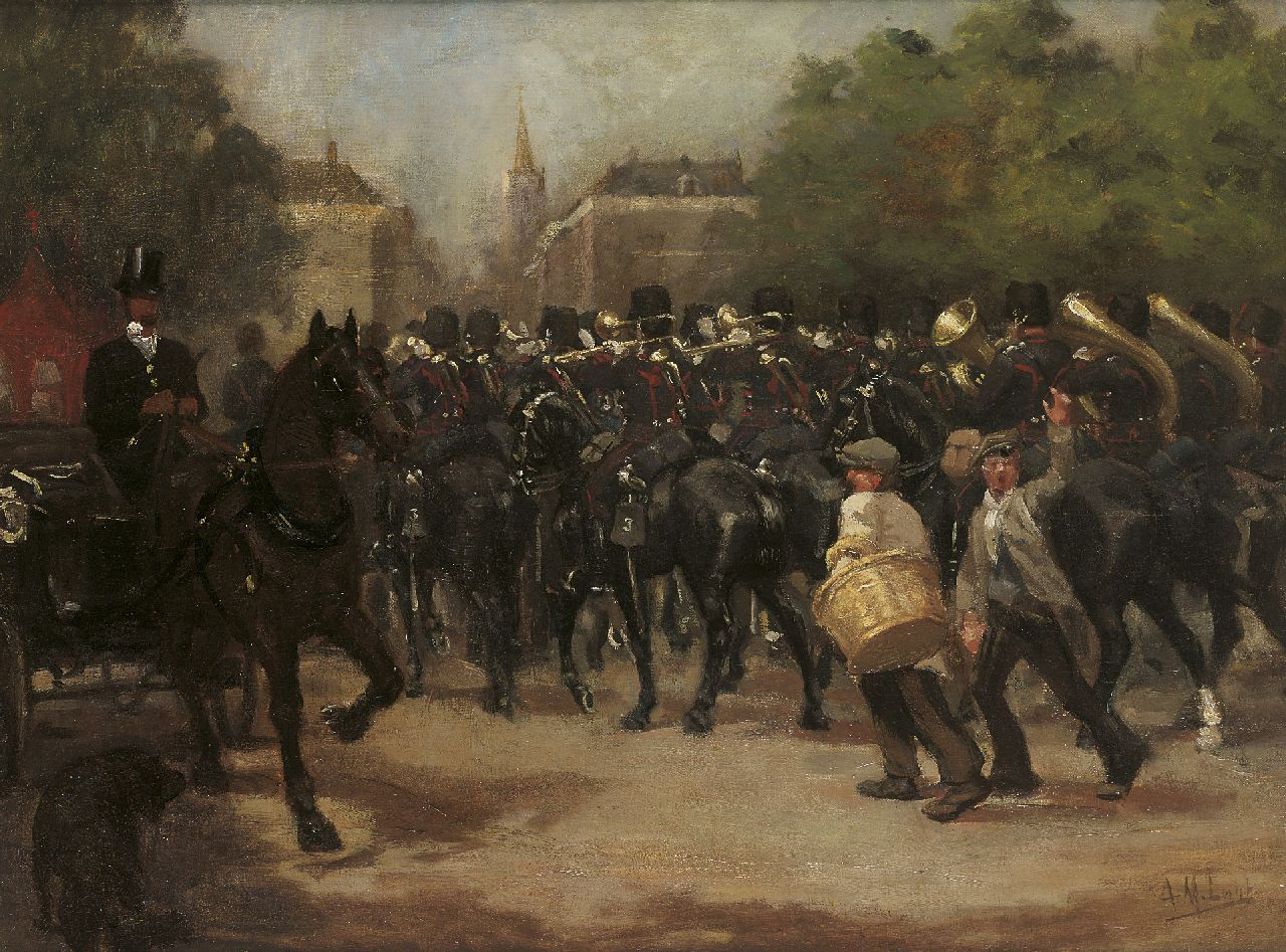 Luijt A.M.  | Arie Martinus 'Thies' Luijt, Mounted military orchestra, oil on canvas 60.8 x 80.8 cm, signed l.r.