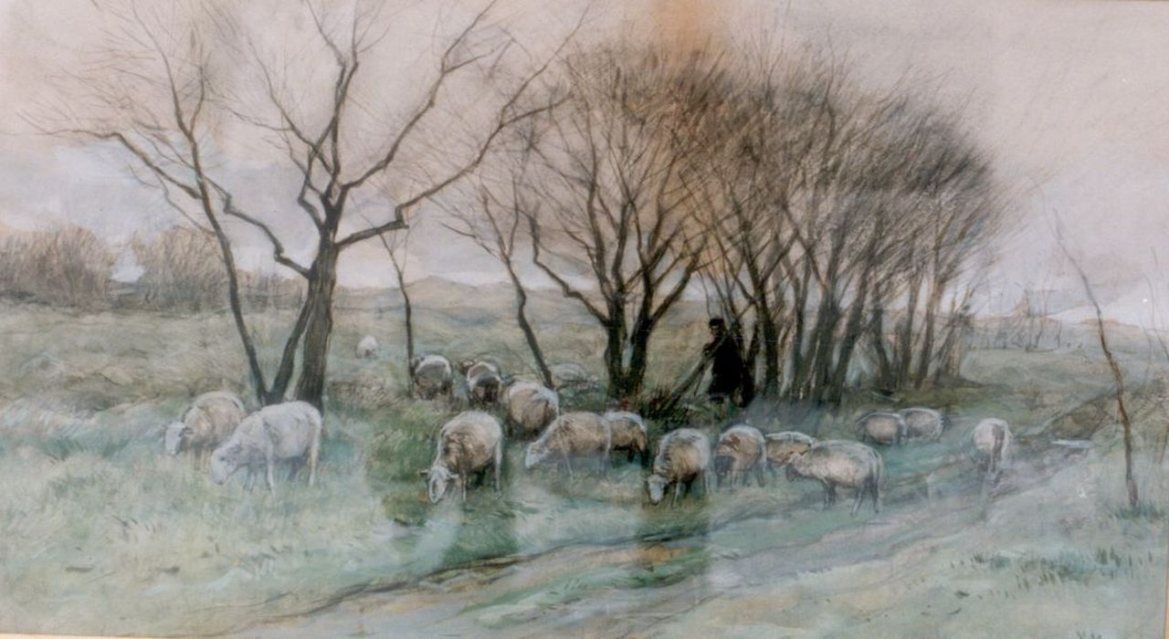 Mauve A.  | Anthonij 'Anton' Mauve, A shepherd and flock, watercolour on paper 33.0 x 58.7 cm, signed l.r.