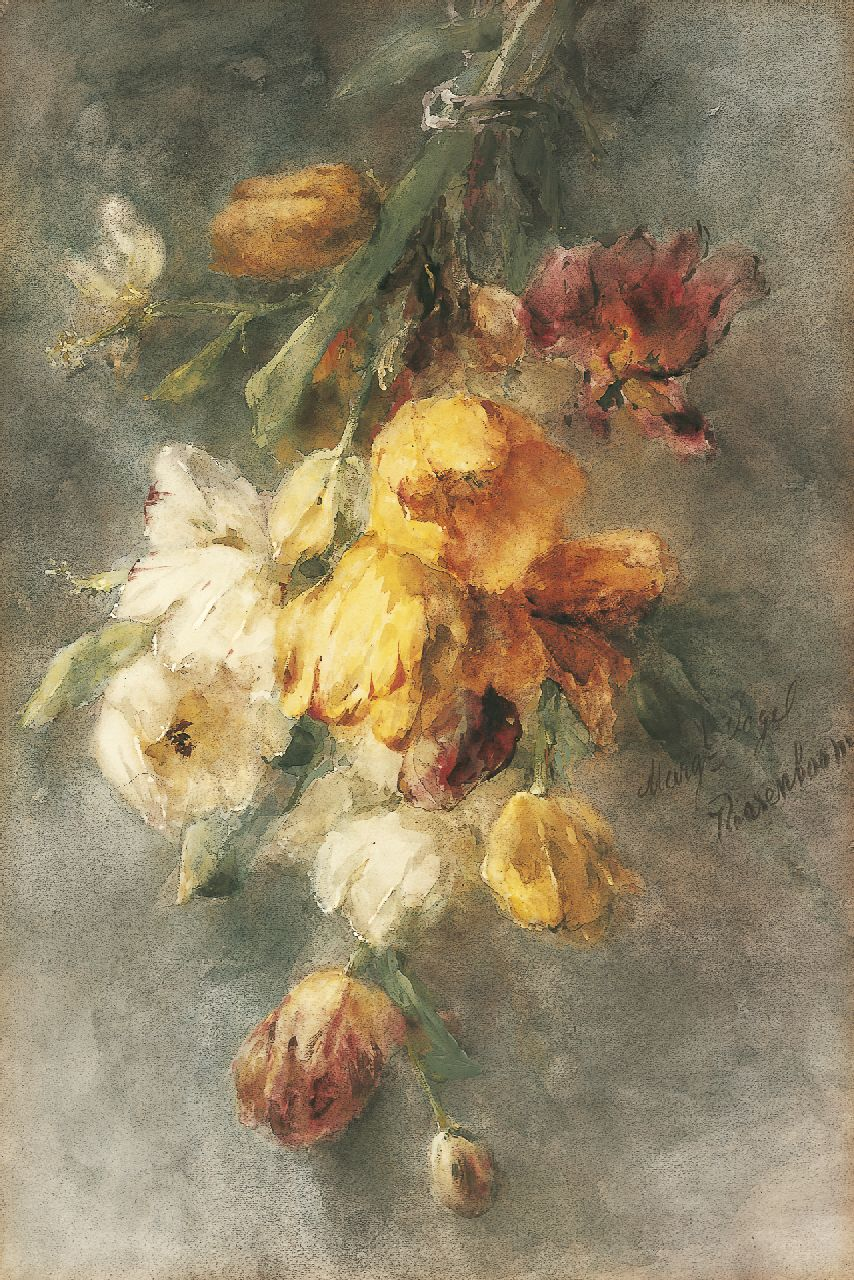 Roosenboom M.C.J.W.H.  | 'Margaretha' Cornelia Johanna Wilhelmina Henriëtta Roosenboom, A bouquet of tulips, watercolour and gouache on paper 74.0 x 49.8 cm, signed r.c. and to be dated 1893-1896