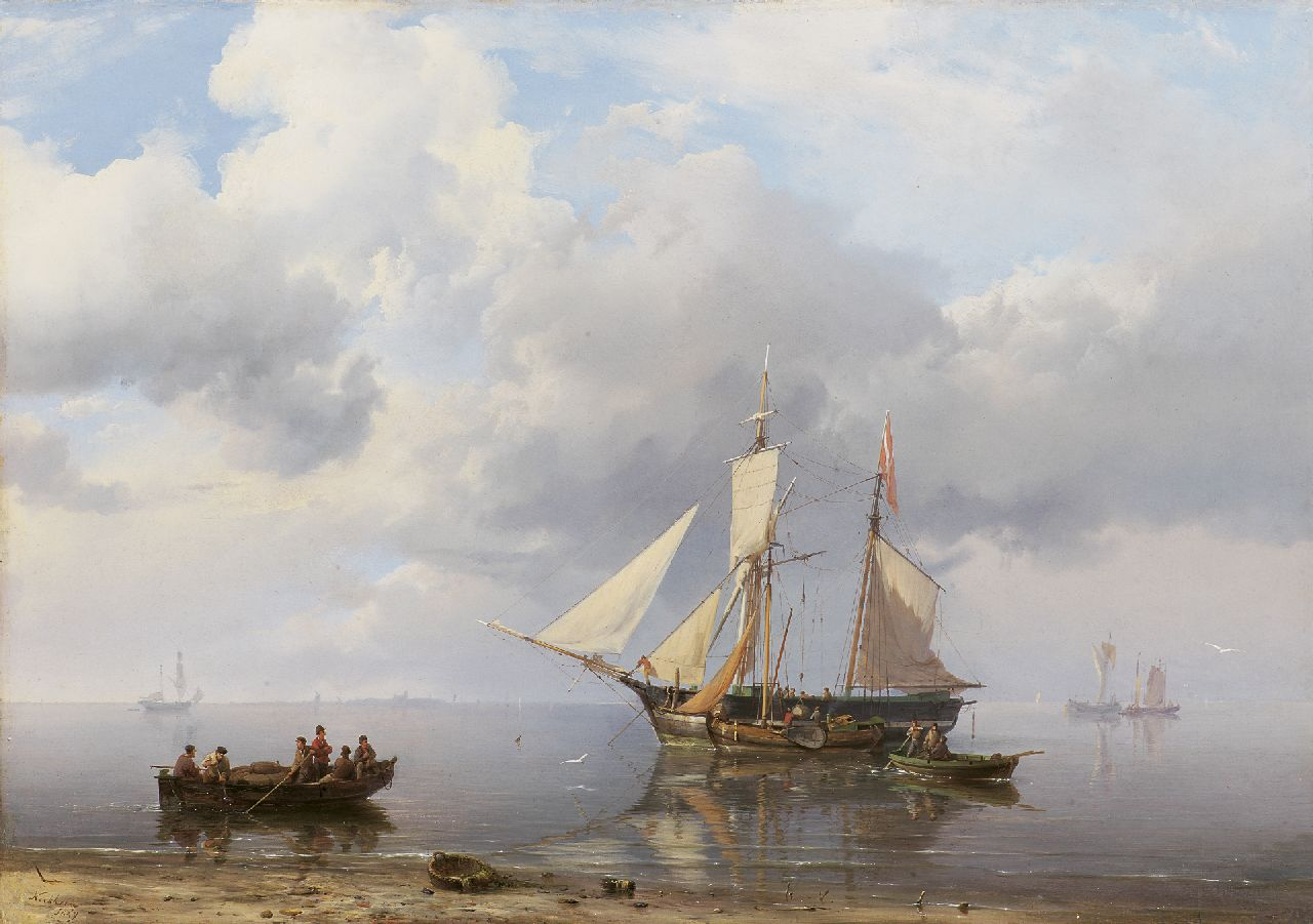 Koekkoek H.  | Hermanus Koekkoek, Loading the scooner at calm weather, oil on canvas 39.0 x 55.7 cm, signed l.l. and dated 1849