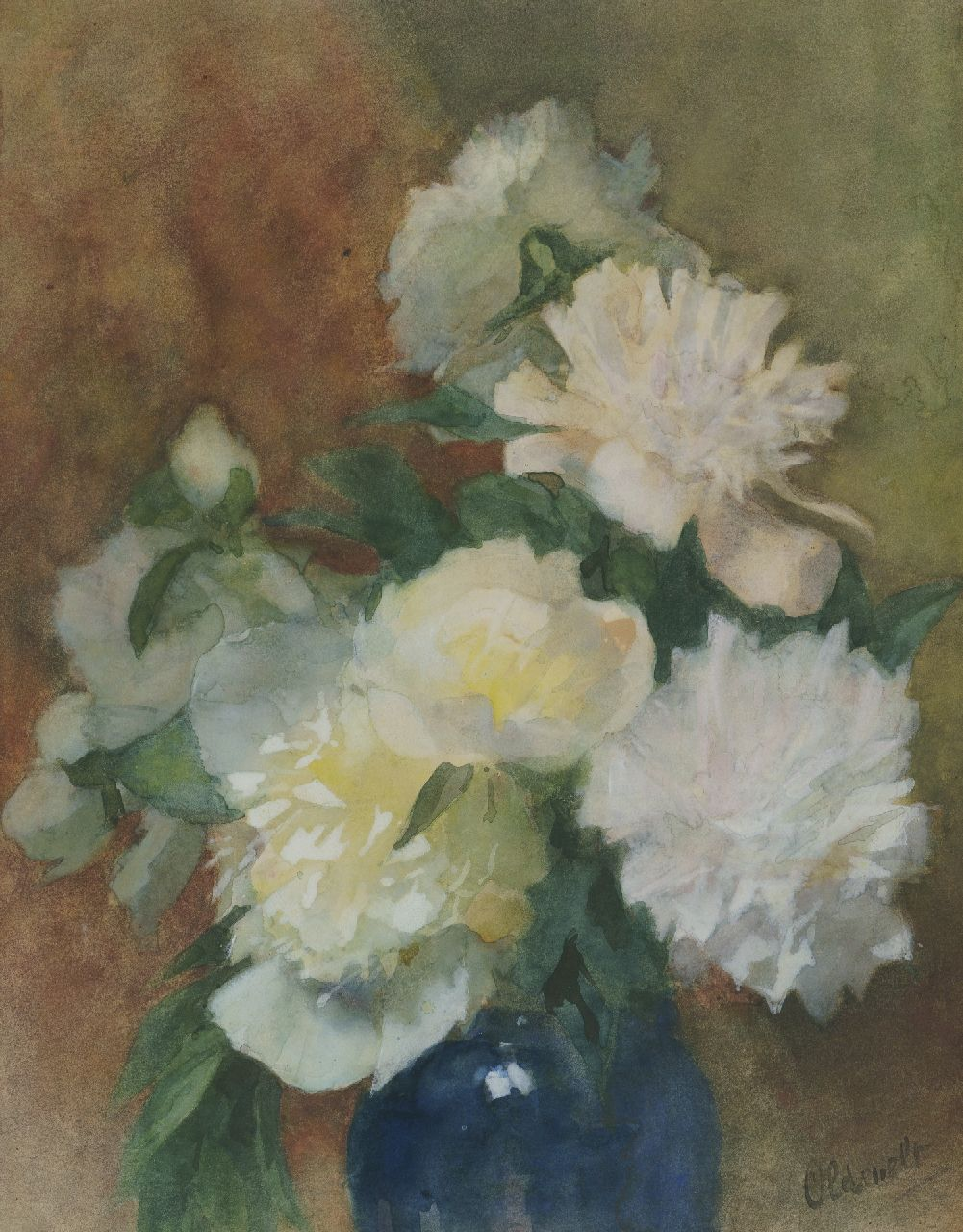 Ferdinand Oldewelt | Peonies in a blue vase, watercolour on paper, 50.3 x 38.3 cm, signed l.r.