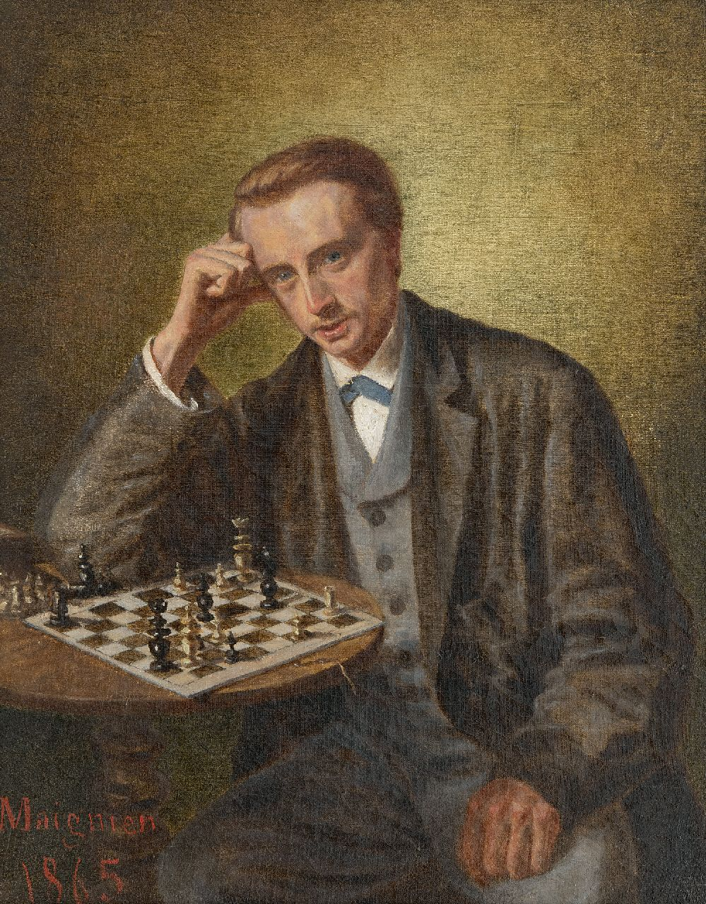 Maignien | The chess player, oil on canvas laid down on panel, 30.5 x 24.2 cm, signed l.l. and dated 1865