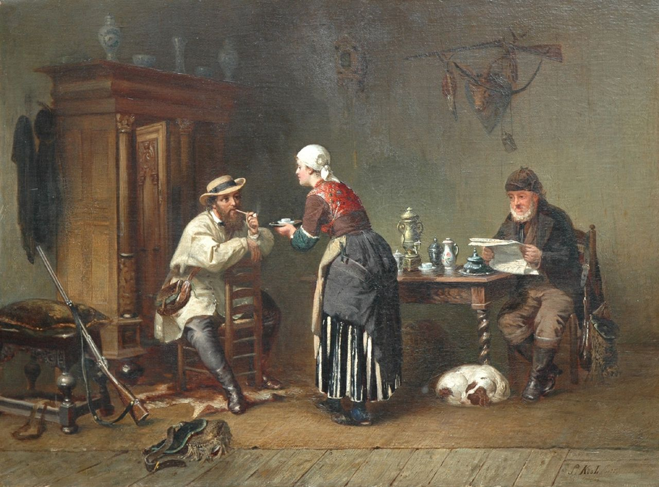 Kool S.  | Sipke 'Cornelis' Kool, A hospitable welcome, oil on canvas 59.0 x 79.7 cm, signed l.r. and verso