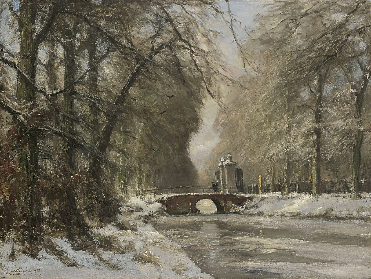 Apol L.F.H.  | Lodewijk Franciscus Hendrik 'Louis' Apol, The entrance of Huis ten Bosch in winter, oil on canvas 60.4 x 80.5 cm, signed l.l. and dated 1927