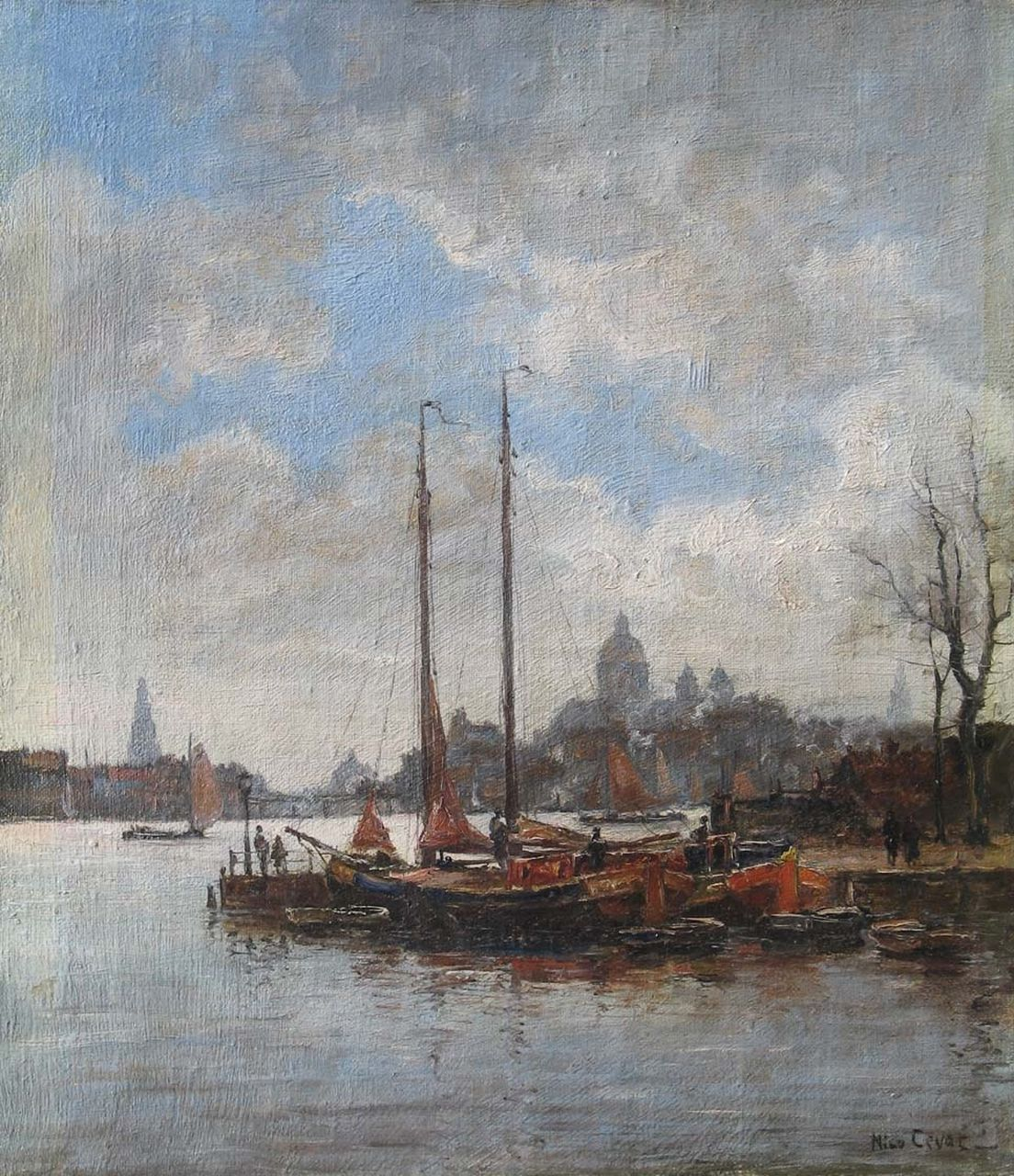 Nico Cevat | A view of Amsterdam, oil on canvas, 41.1 x 35.9 cm, signed l.r.