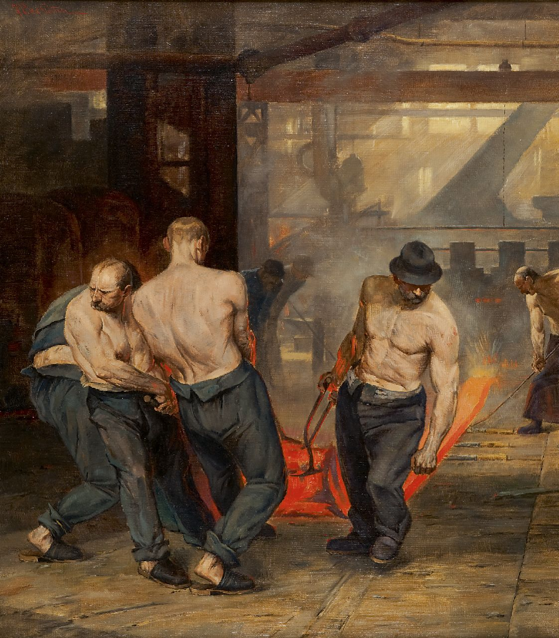 H.V. v.d. Porten | Labourers in a steel-rolling mill, oil on canvas, 80.2 x 70.2 cm, signed u.l.