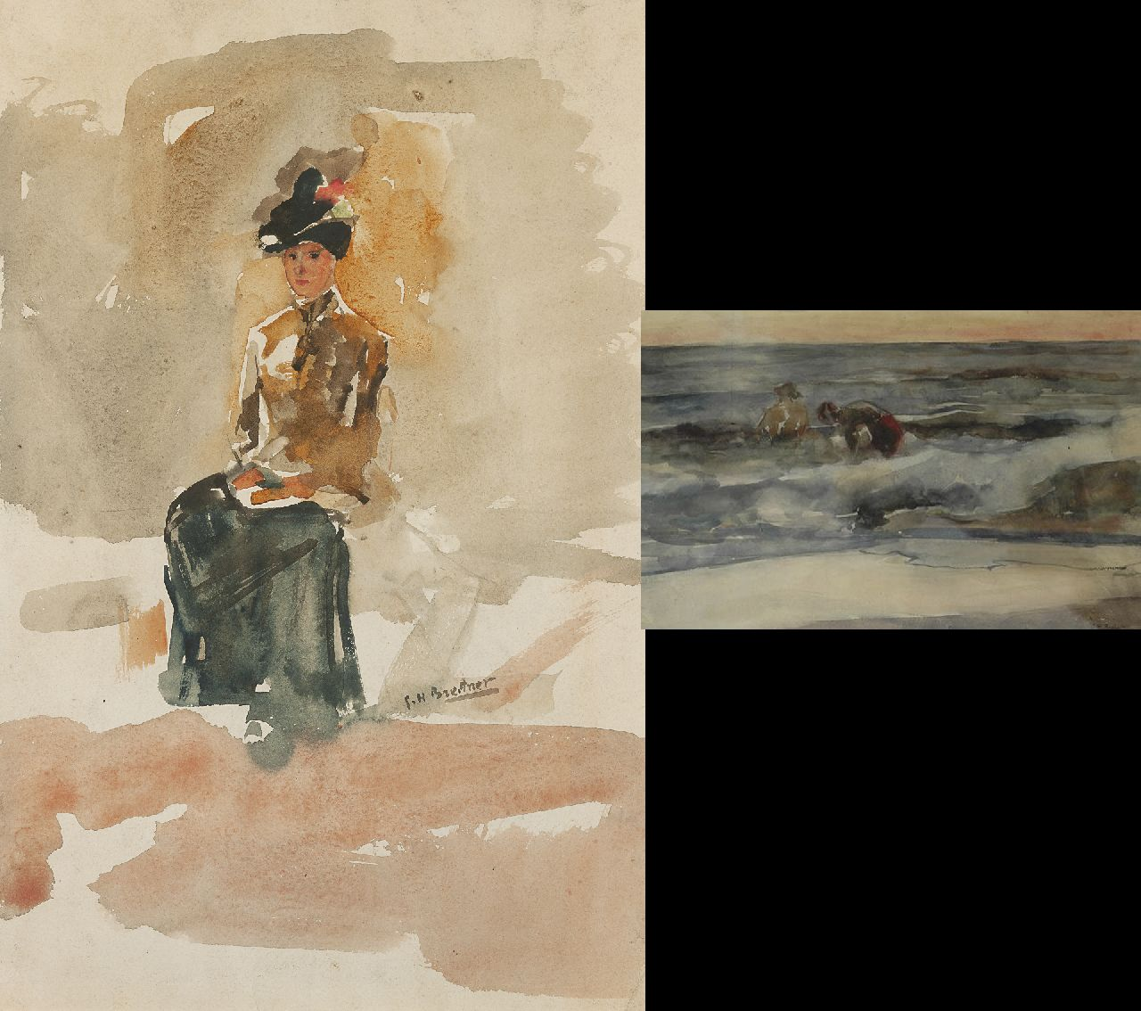 Breitner G.H.  | George Hendrik Breitner, An elegant woman, seated; verso: two figures boys in the breakers, watercolour on paper 53.6 x 34.9 cm, signed r.c. and on the reverse