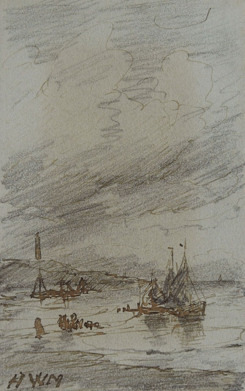 Mesdag H.W.  | Hendrik Willem Mesdag, Fishing boats near the Scheveningen lighthouse, pencil, pen in brown ink on paper 10.1 x 6.4 cm, signed l.l. with initials
