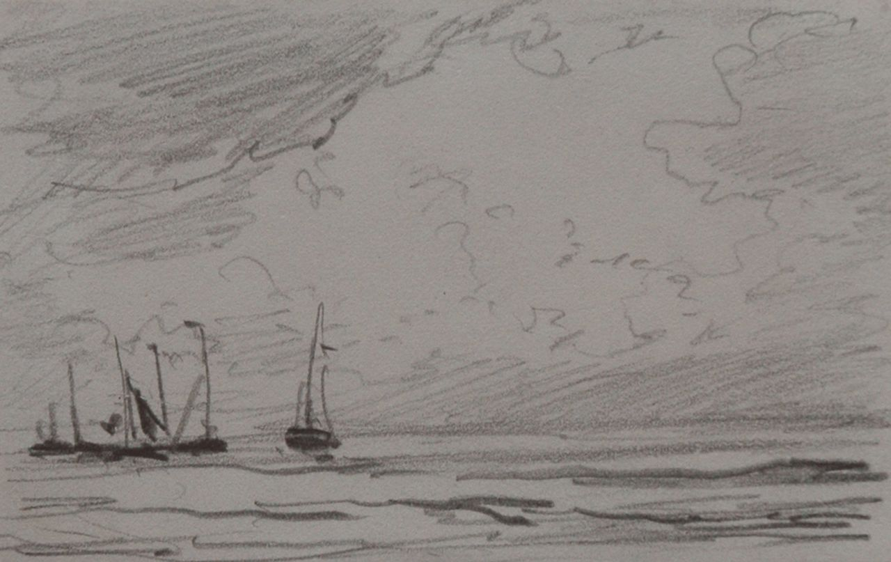 Mesdag H.W.  | Hendrik Willem Mesdag, Barges sailing out, pencil on paper 6.4 x 10.1 cm