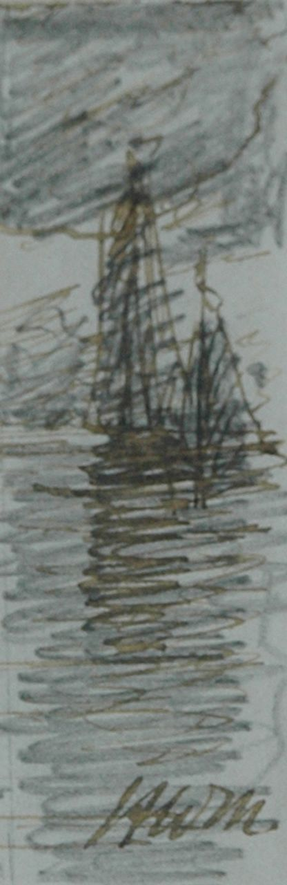 Mesdag H.W.  | Hendrik Willem Mesdag, Evening mood, pencil, pen in black ink on paper 7.7 x 2.5 cm, signed l.r. with initials