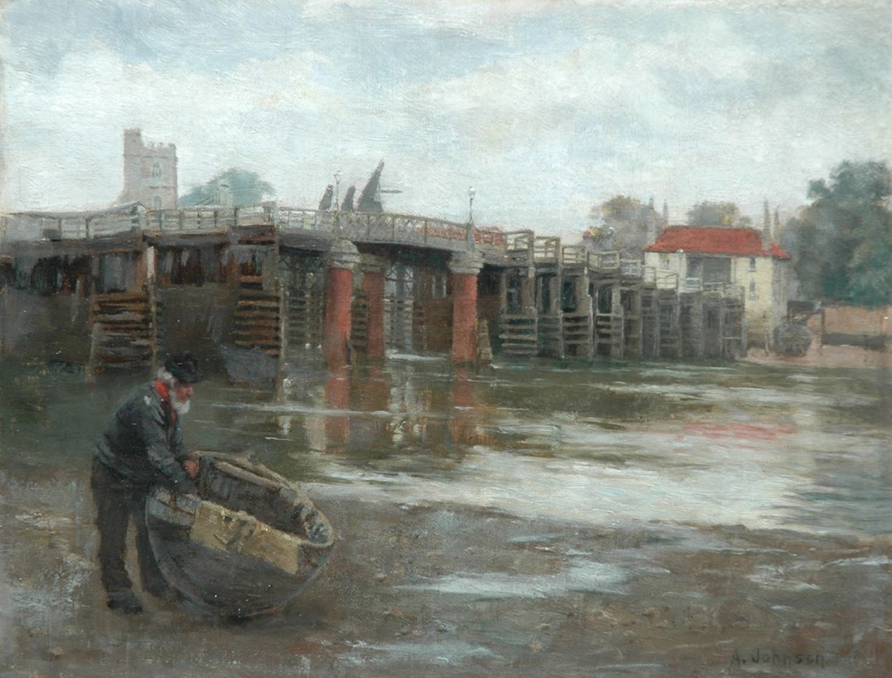 Johnson A.  | Alfred Johnson, The old bridge, Putney, oil on canvas laid down on panel 26.4 x 34.3 cm, signed l.r.