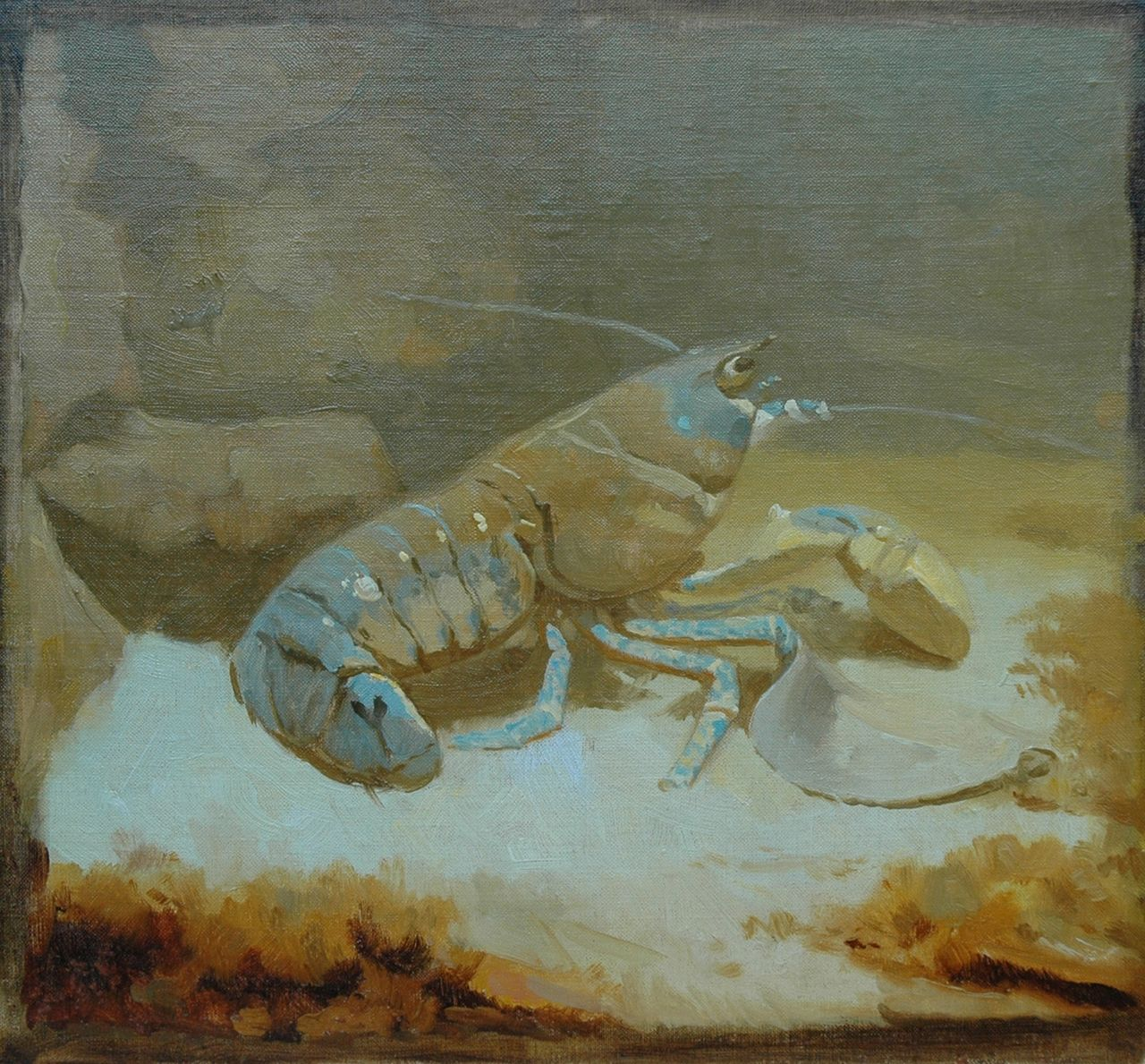 Dijsselhof G.W.  | Gerrit Willem Dijsselhof, Lobster, oil on canvas laid down on panel 25.0 x 27.4 cm