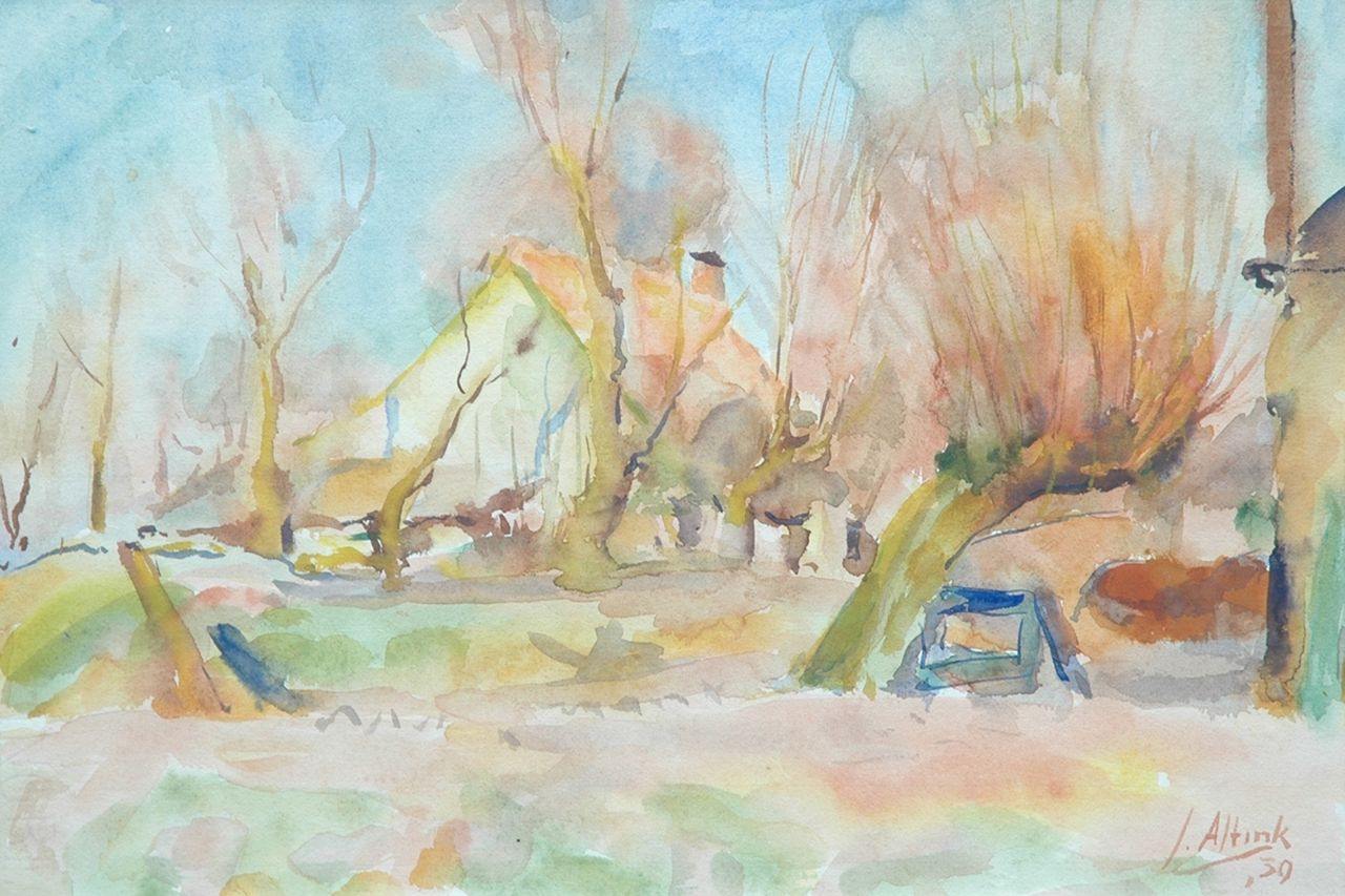 Altink J.  | Jan Altink, Farmhouse behind pollard willows, watercolour on paper 31.5 x 44.0 cm, signed l.r. and dated '39