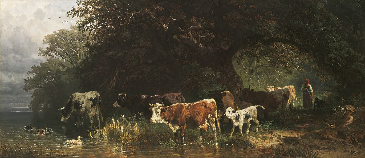 Friedrich Voltz | Cattle by the Starnberger See, oil on panel, 39.6 x 90.4 cm, signed l.r. and dated '70