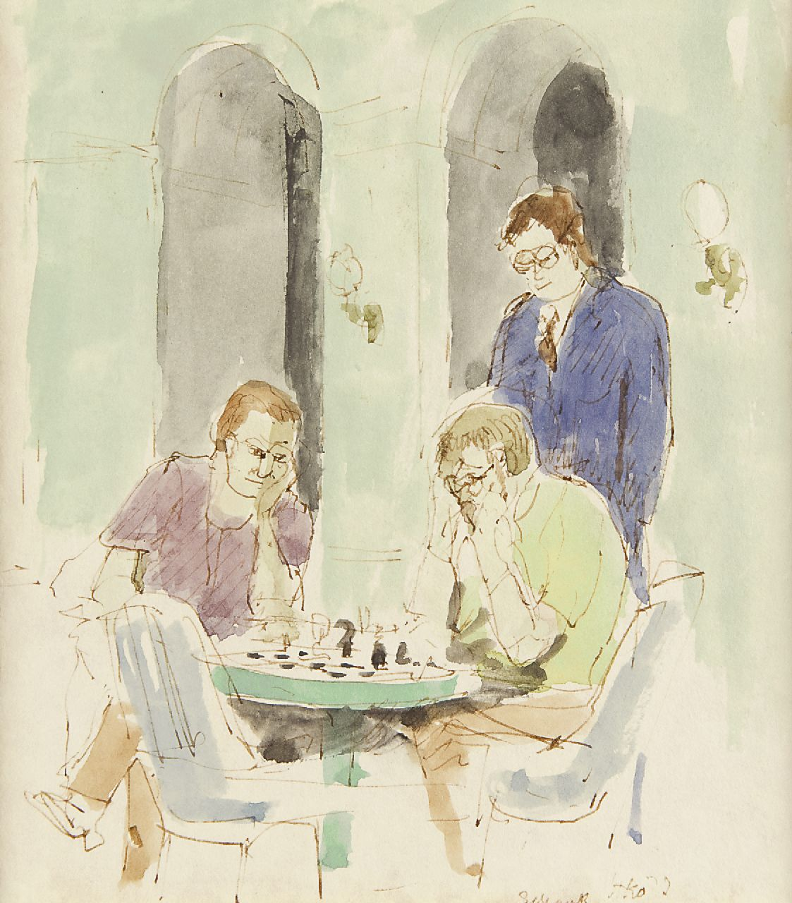 Kamerlingh Onnes H.H.  | 'Harm' Henrick Kamerlingh Onnes | Watercolours and drawings offered for sale | The Chessplayers, pen, brown ink and watercolour on paper 17.4 x 15.8 cm, signed l.r. with monogram and dated '73