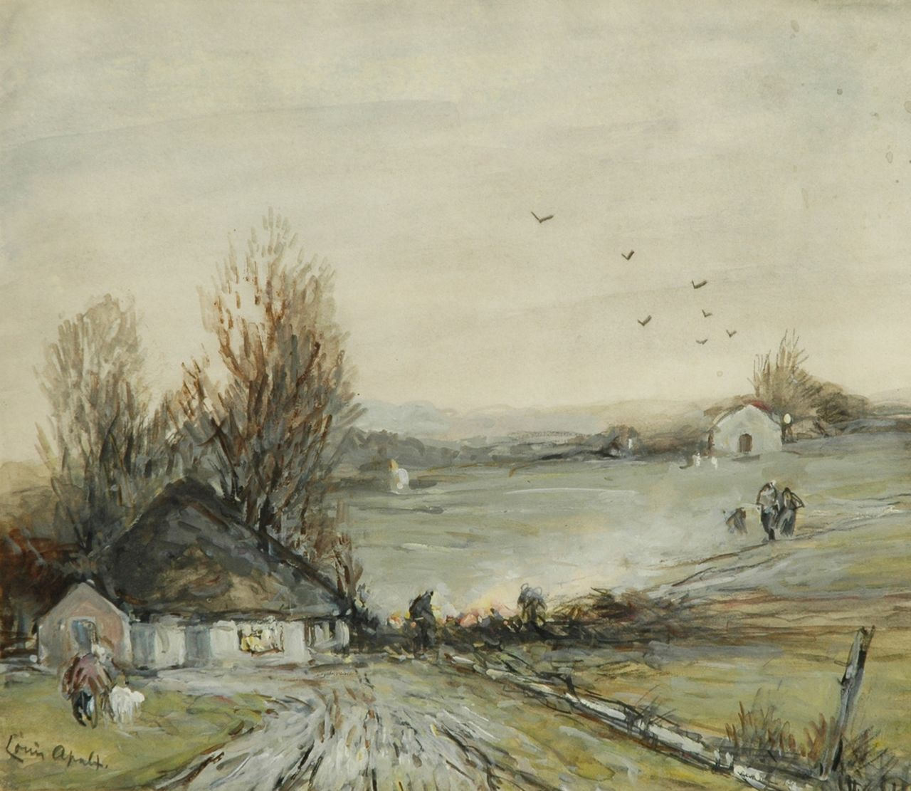 Apol L.F.H.  | Lodewijk Franciscus Hendrik 'Louis' Apol, Farmers stoking up a fire near a farm, pencil and watercolour on paper 21.9 x 24.9 cm, signed l.l.