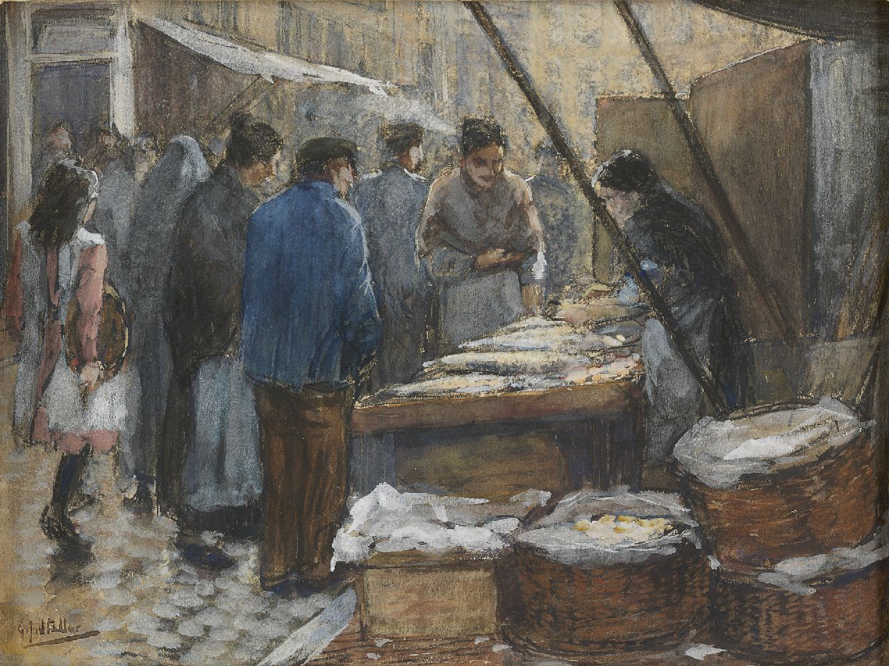 Staller G.J.  | Gerard Johan Staller, Figures at a fish market stall, Amsterdam, watercolour and gouache on paper 17.5 x 23.5 cm, signed l.l.