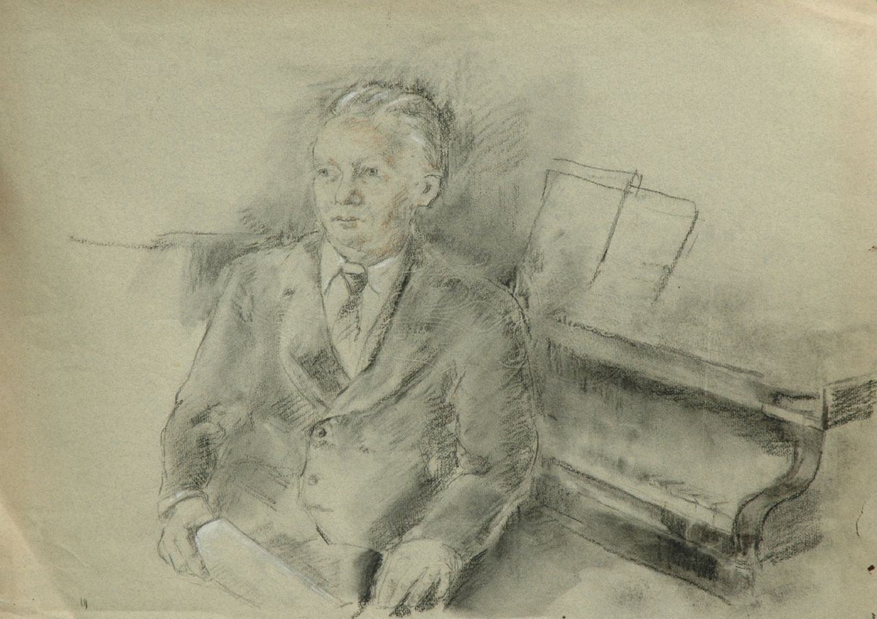 Neuburger E.  | Eliazer 'Elie' Neuburger, Willem Andriessen, seated by a grand piano, charcoal and chalk on coloured paper 42.6 x 60.4 cm