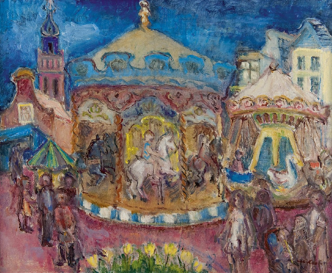 Albert Loots | The Merry-go-round, oil on canvas, 54.0 x 65.1 cm, signed l.r. and dated Cagnes sur Mer november 1932 verso