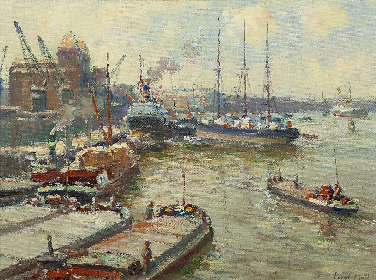 Moll E.  | Evert Moll, Activity in the Maas harbour, oil on canvas 30.3 x 40.3 cm, signed l.r.