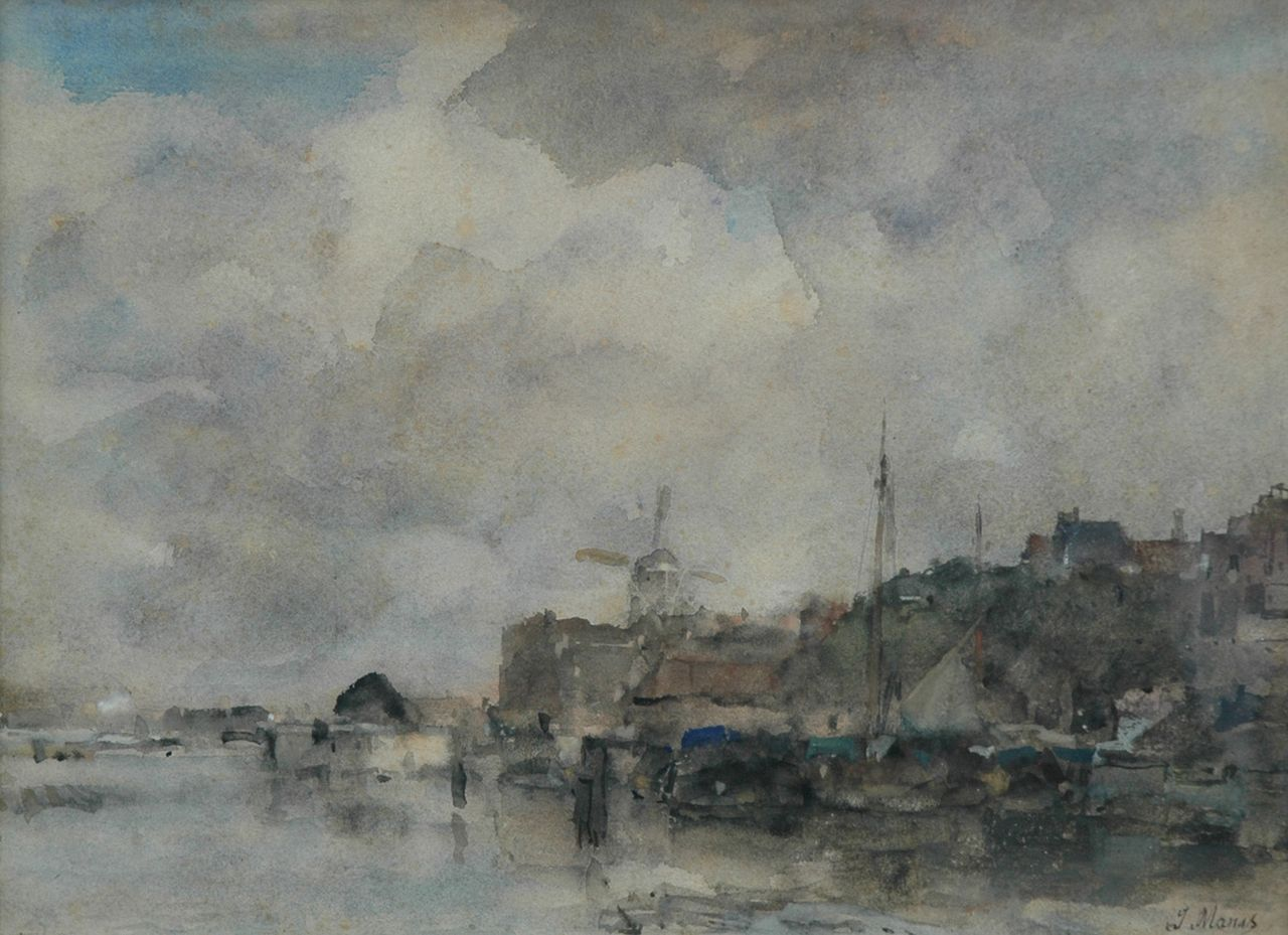 Maris J.H.  | Jacobus Hendricus 'Jacob' Maris, View of a Dutch harbour, watercolour on paper 28.5 x 38.6 cm, signed l.r.