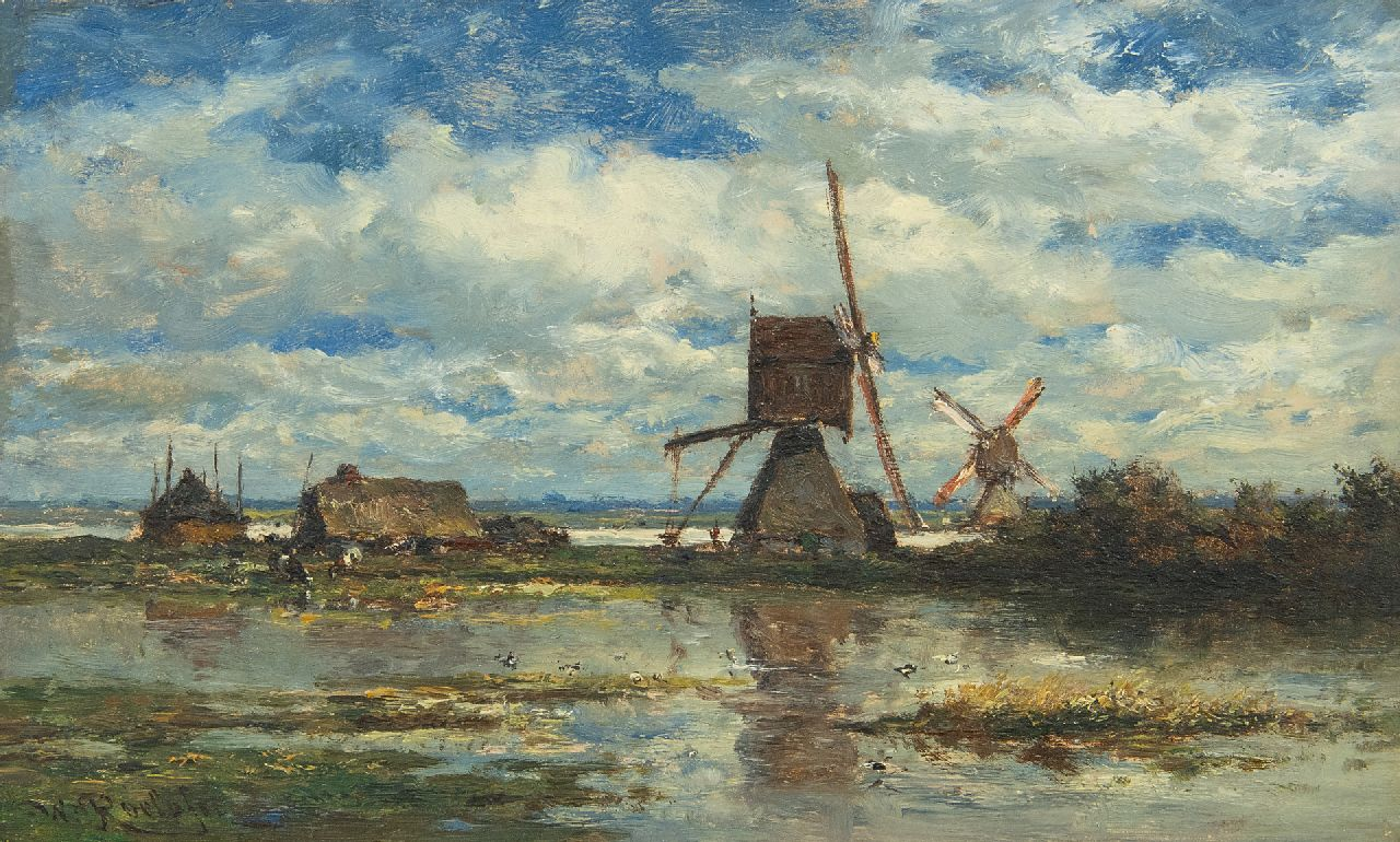 Roelofs W.  | Willem Roelofs | Paintings offered for sale | Two windmills in the Stolwijk polder (near Gouda), oil on panel 14.8 x 24.0 cm, signed l.l. and painted ca. 1872-1875