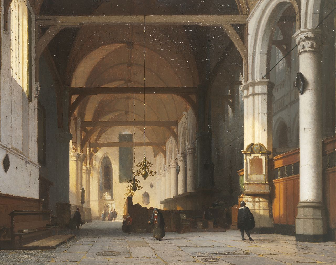 Schenkel J.J.  | Jan Jacob Schenkel, The interior of the 'Oude Kerk', Amsterdam, oil on panel 49.7 x 63.0 cm, signed l.r. (on the pillar)
