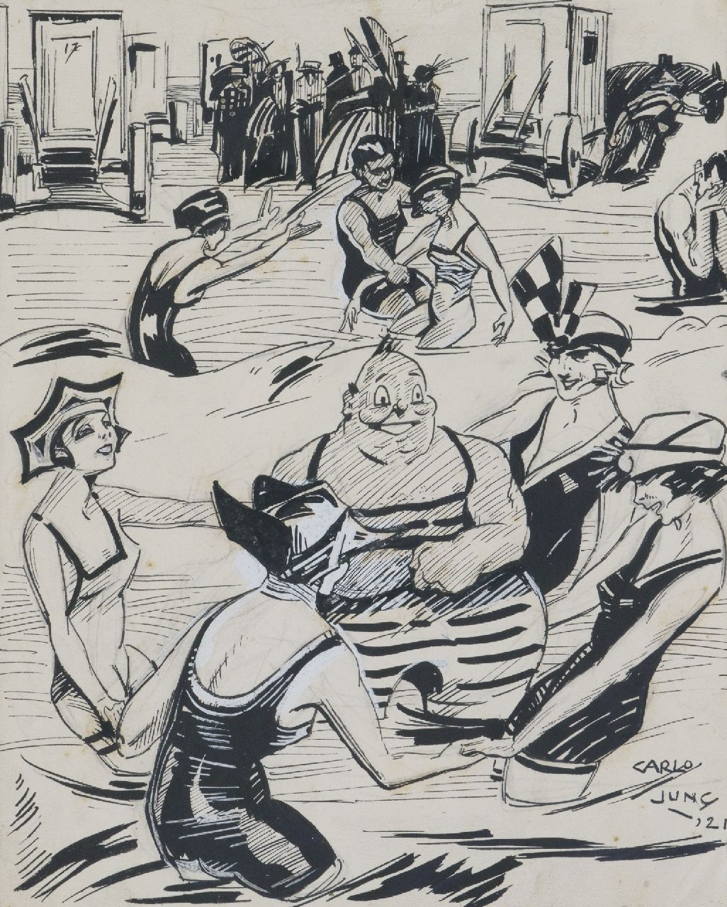 Jung C.H.  | Carel Hendrik 'Carlo' Jung | Watercolours and drawings offered for sale | Beach party, Indian ink on paper 22.0 x 24.0 cm, signed l.r. and dated '21