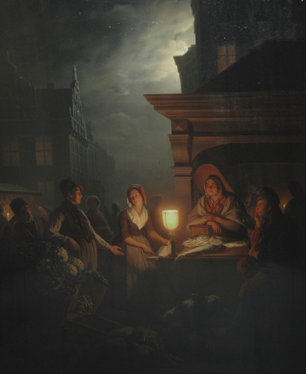 Schendel P. van | Petrus van Schendel, The fismarket at night, oil on panel 84.3 x 69.4 cm, signed l.r.