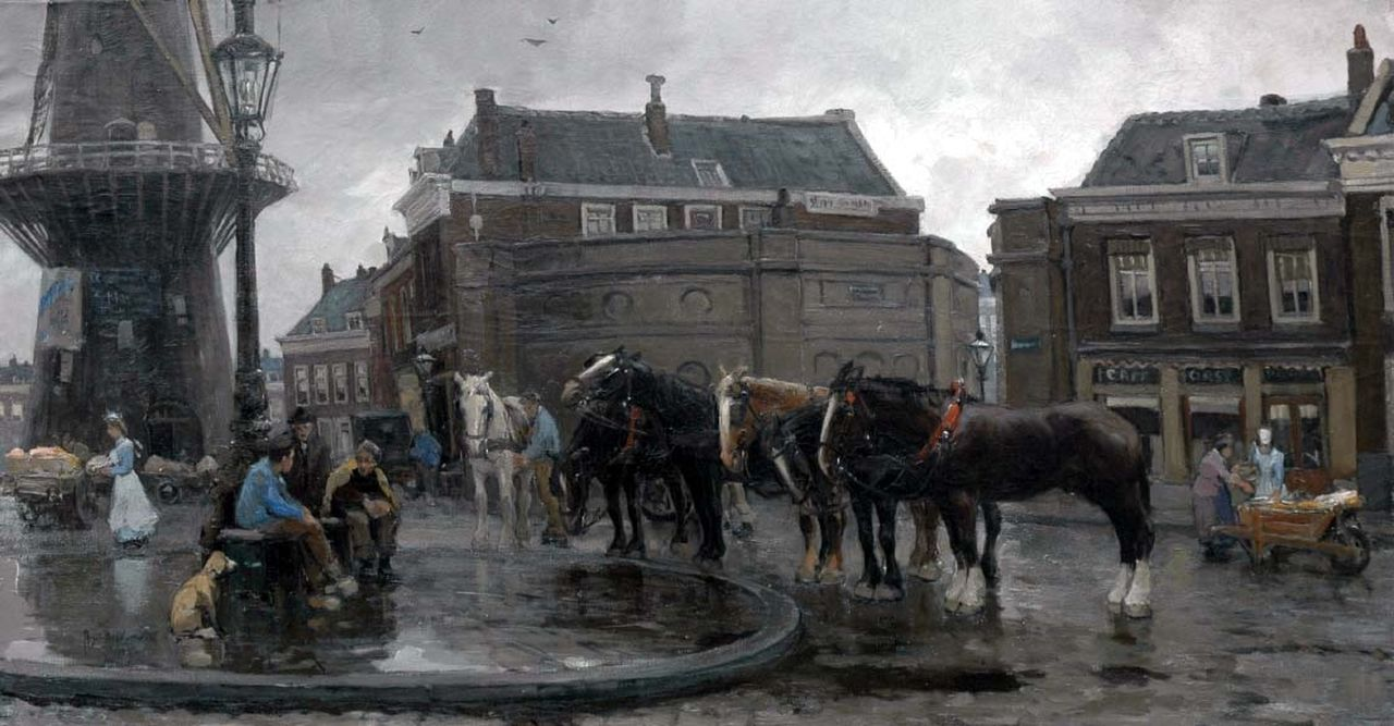 Voorden A.W. van | August Willem van Voorden, View of the Oostplein with windmill 'De Noord', Rotterdam, oil on canvas 75.3 x 140.8 cm, signed l.l. and dated 1905