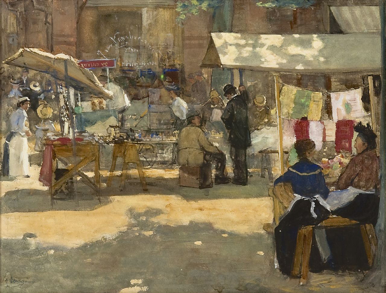 Arntzenius P.F.N.J.  | Pieter Florentius Nicolaas Jacobus 'Floris' Arntzenius, A sunny market scene, The Hague, watercolour on paper 36.2 x 46.9 cm, signed l.l. and painted ca. 1905