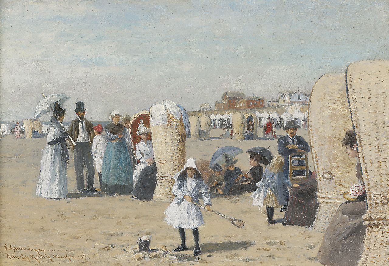Heinrich Rasch | The beach of Scheveningen, oil on painter's board, 19.0 x 27.3 cm, signed l.l. and dated 1891