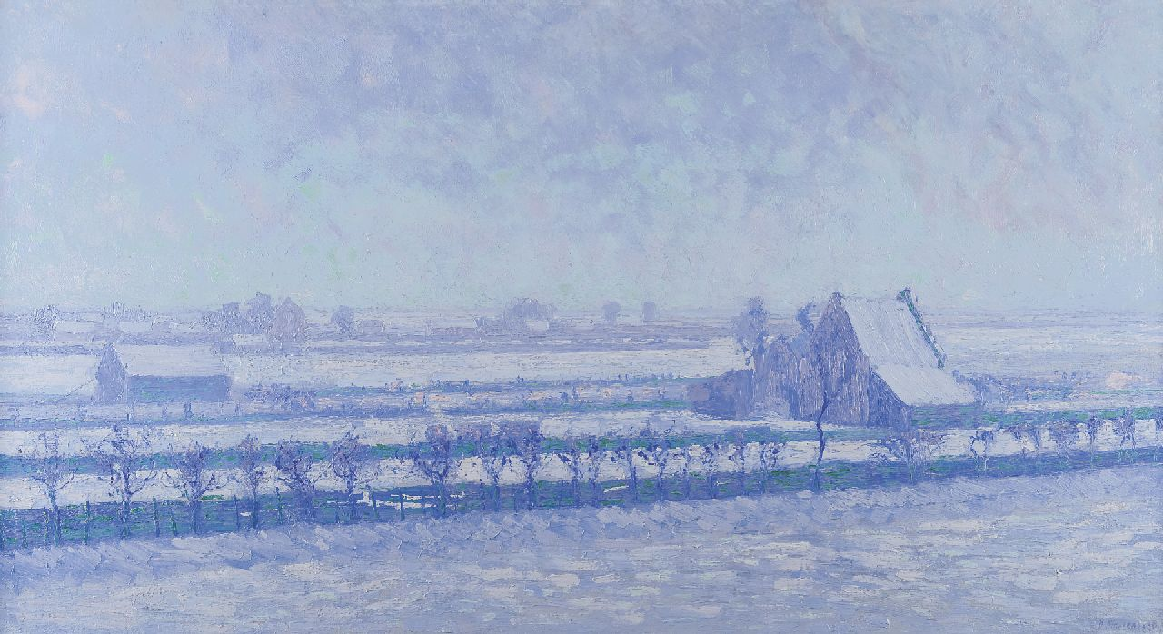 Smorenberg D.  | Dirk Smorenberg, Landscape in the snow, Loosdrecht, oil on canvas 62.5 x 117.0 cm, signed l.r. and dated '12