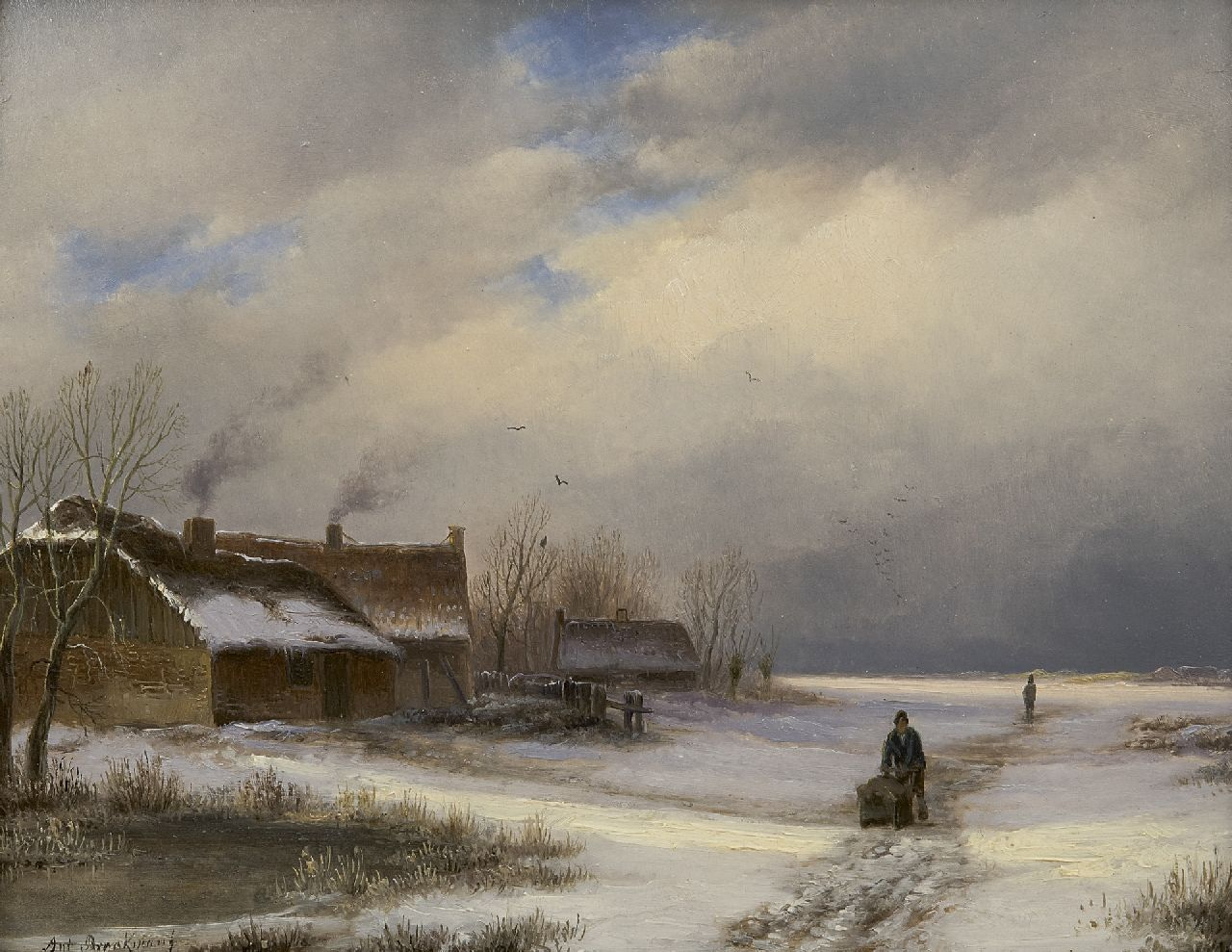 Braakman A.  | Anthonie 'Anton' Braakman | Paintings offered for sale | Farmhouse in the snow, oil on panel 18.5 x 23.1 cm, signed l.l.