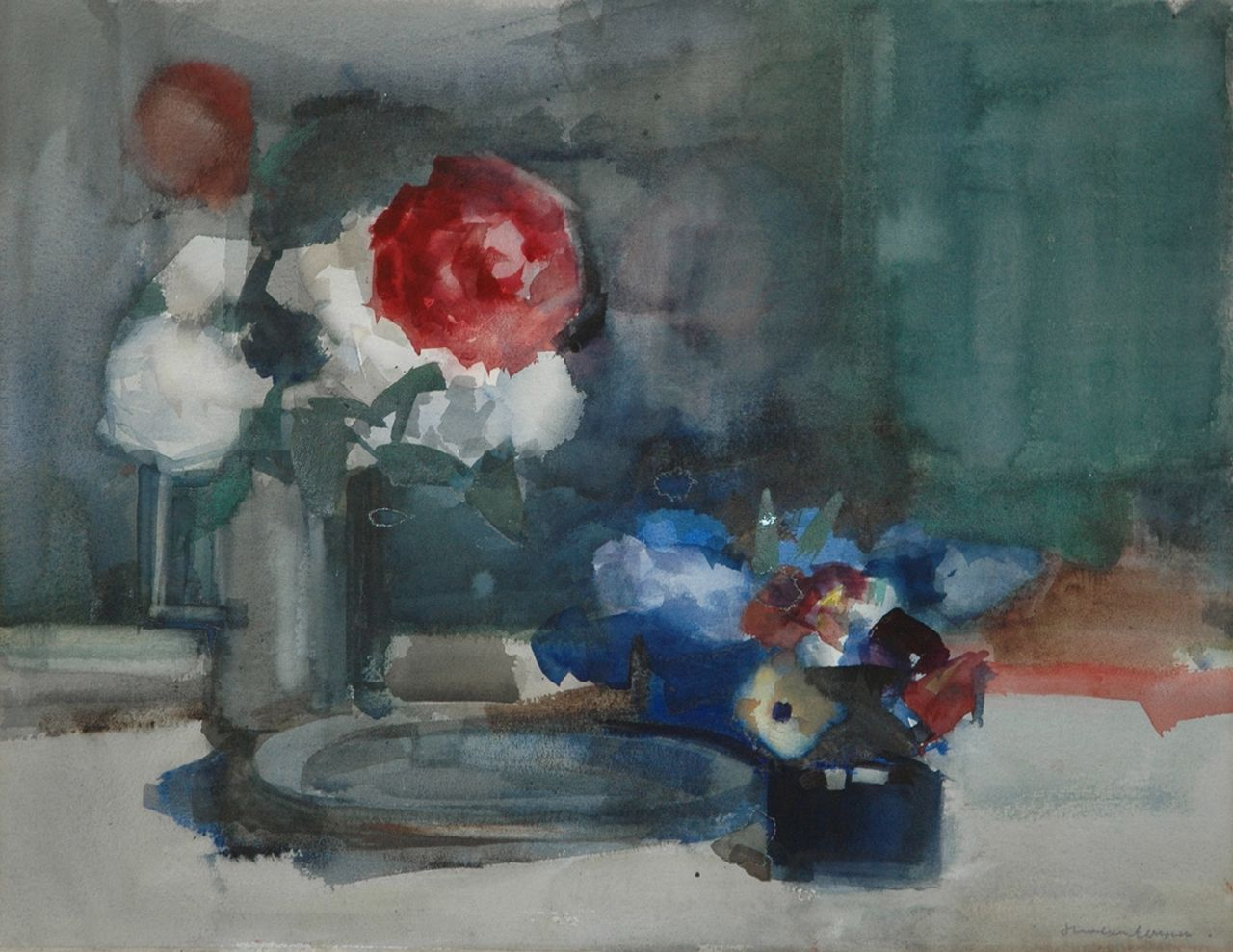 Hans van Ieperen | Flower still life, watercolour on paper, 46.0 x 58.7 cm, signed l.r.