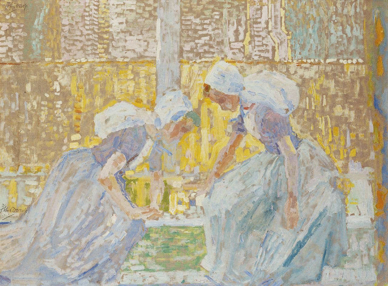 Toorop J.Th.  | Johannes Theodorus 'Jan' Toorop, Girls from Zeeland playing a game of draughts, oil on board 47.9 x 62.7 cm, signed signed double: l.c. and u.l. and painted circa. 1907-1908