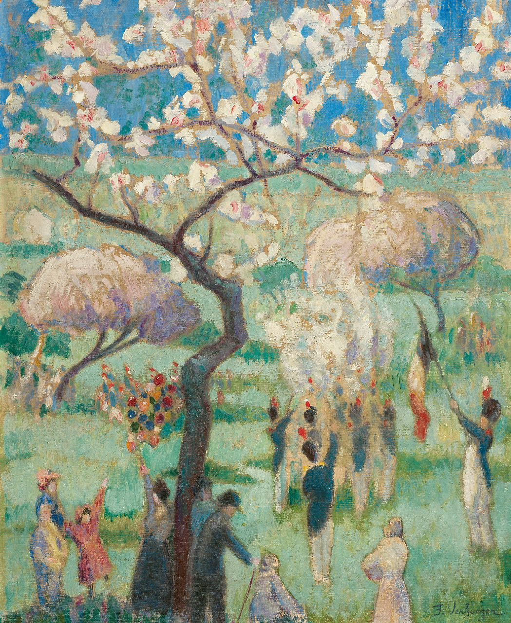 Verhaegen F.  | Fernand Verhaegen | Paintings offered for sale | The celebration of St. Rolande, Gerpinnes, oil on canvas 54.5 x 44.7 cm, signed l.r. and painted ca. 1913