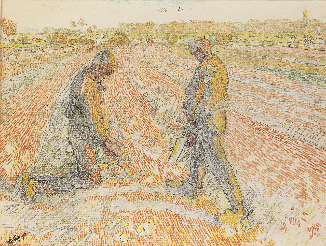 Toorop J.Th.  | Johannes Theodorus 'Jan' Toorop, Gathering potatoes, pencil and coloured chalk on paper 47.9 x 62.2 cm, signed l.l. and dated 1907