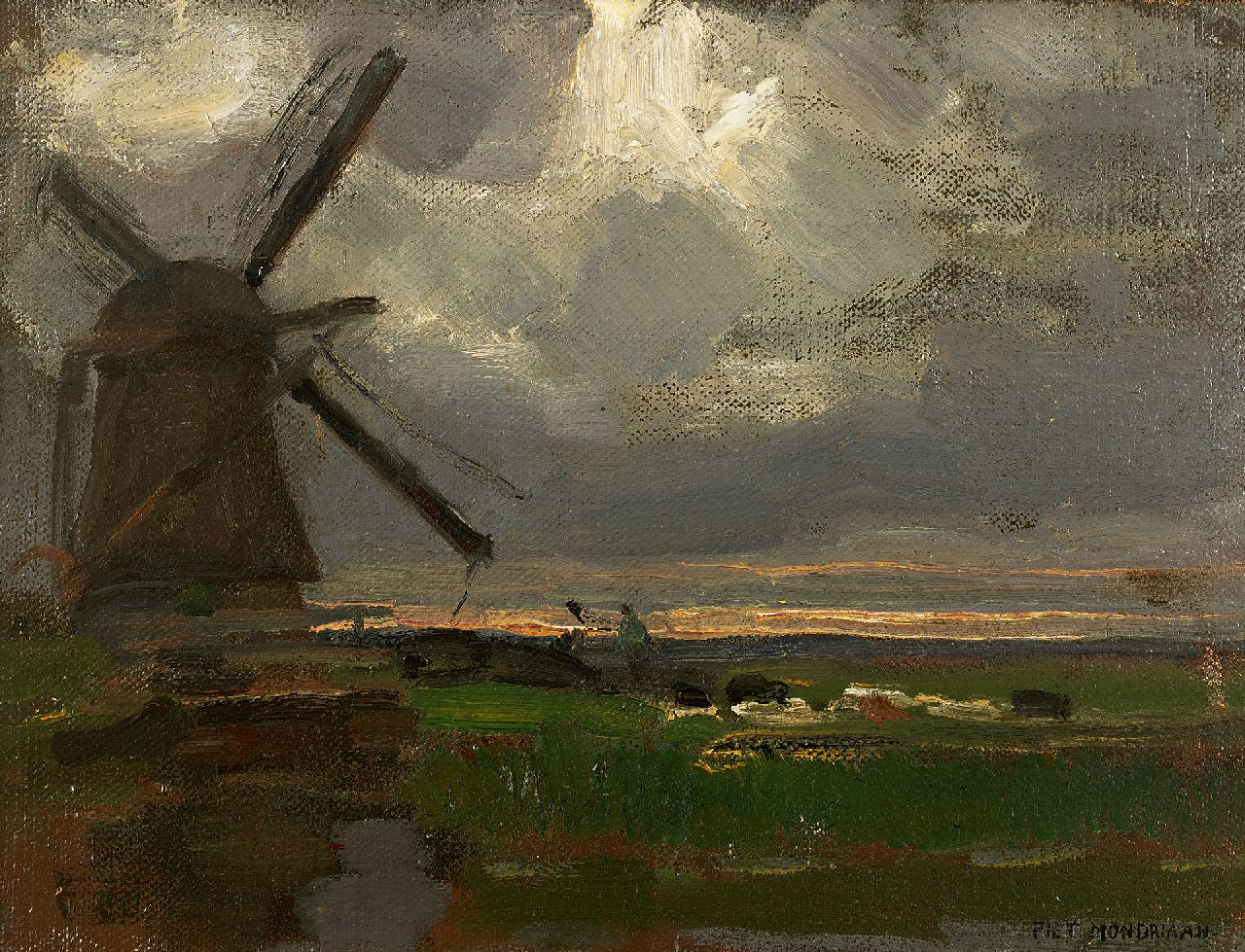 Mondriaan P.C.  | Pieter Cornelis 'Piet' Mondriaan, The 'Broekzijdse Molen' along the Gein, oil on canvas laid down on panel 34.6 x 46.3 cm, signed l.r. and painted ca. 1905