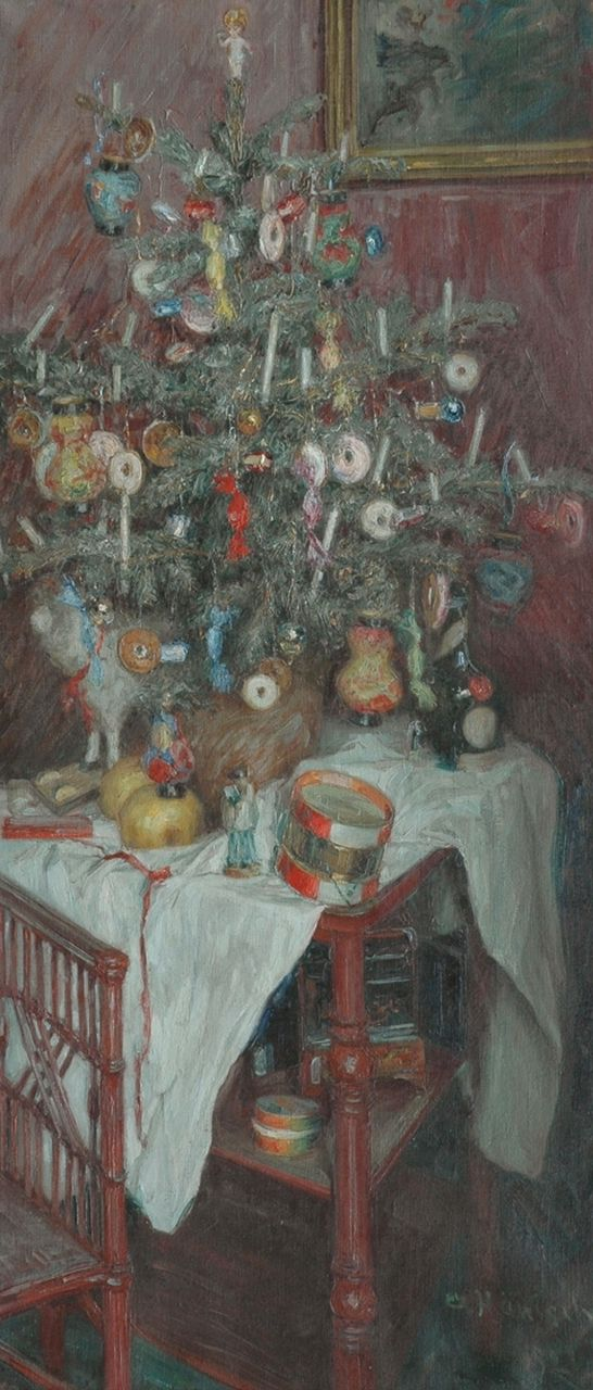 Alois Hänisch | Christmas spirit, oil on canvas, 108.4 x 47.5 cm, signed l.r. and dated 1921