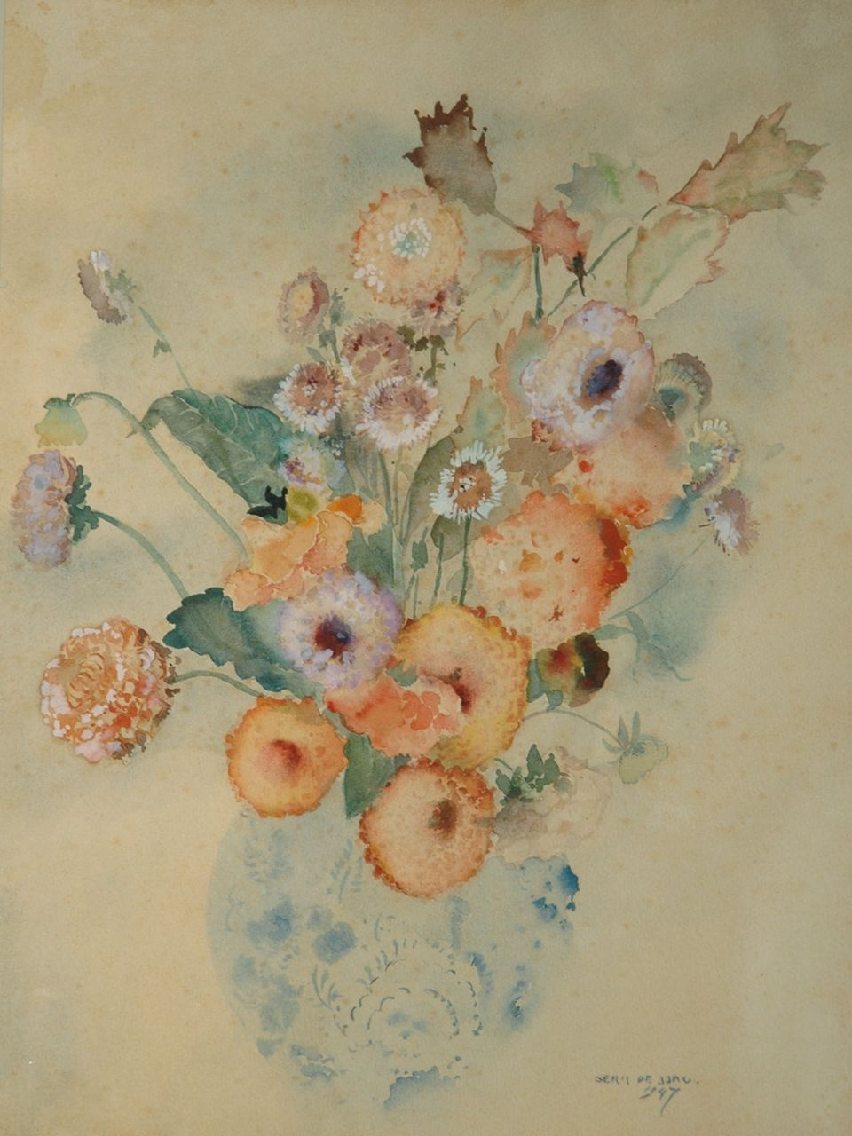 Jong G. de | Gerben 'Germ' de Jong, Flower still life, watercolour on paper 44.7 x 35.8 cm, signed l.r. and dated 1947