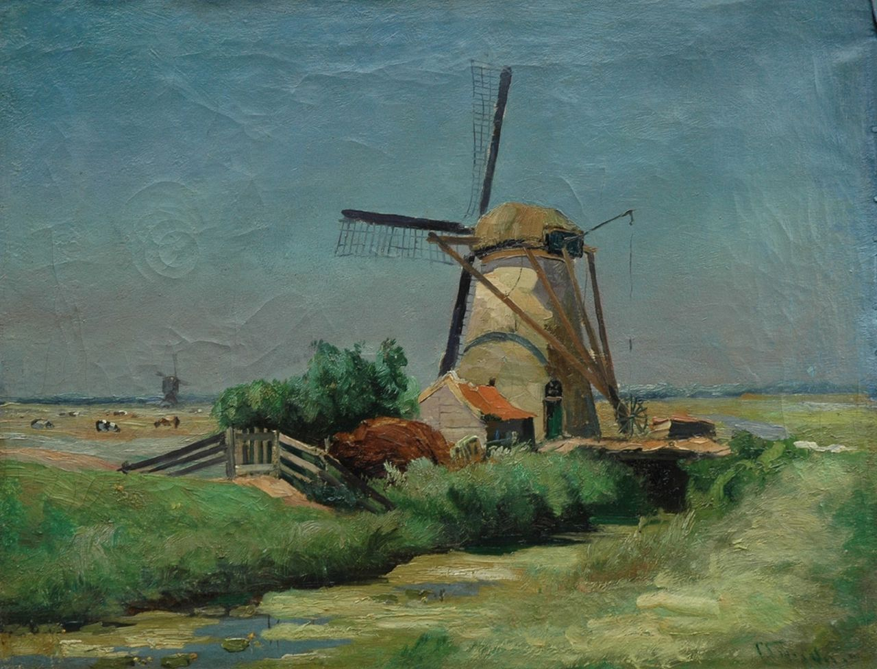 Snijders Chr.P.  | Christiaan Pieter 'Chris' Snijders, A mill in a polder landscape, oil on canvas 49.0 x 64.0 cm