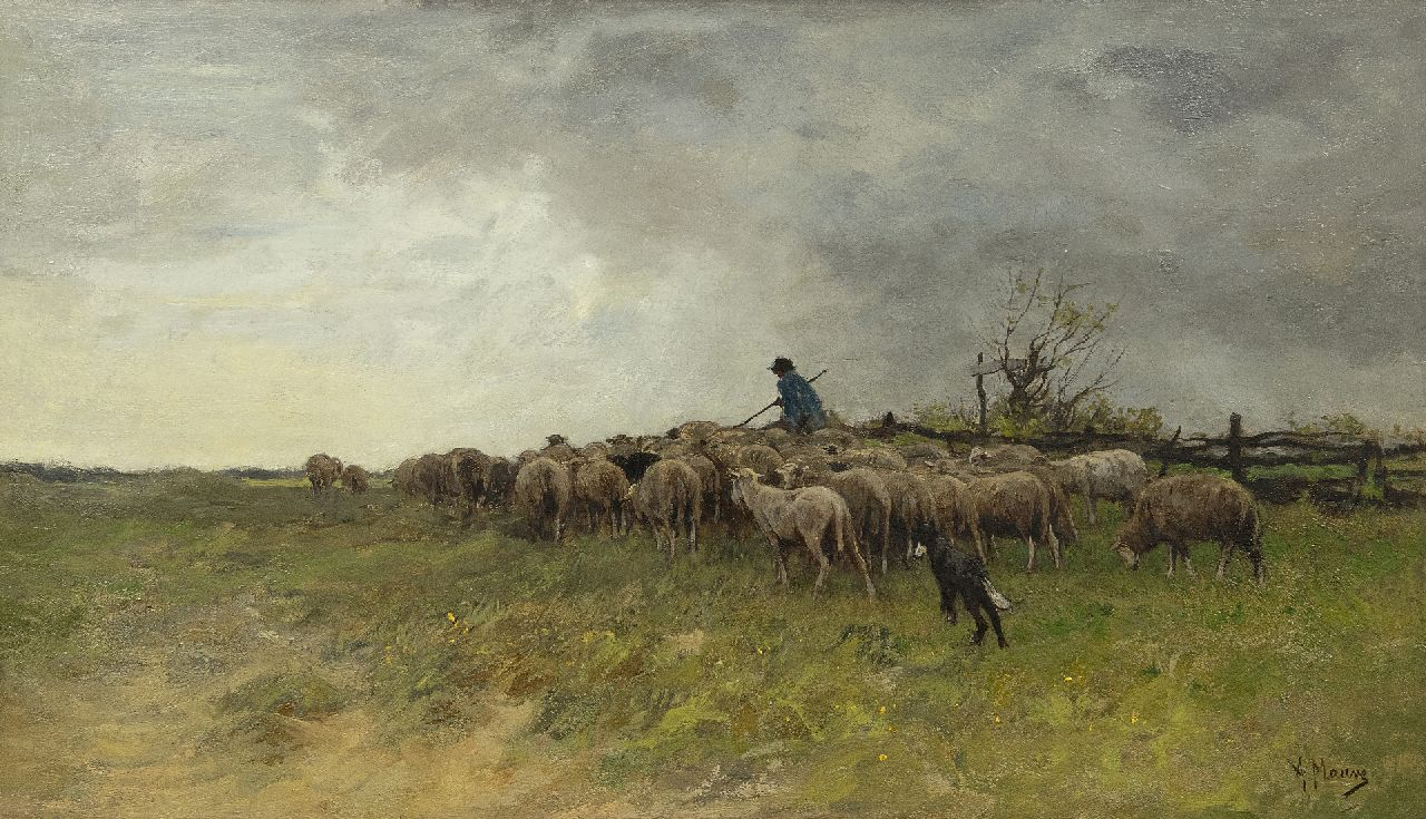 Mauve A.  | Anthonij 'Anton' Mauve | Paintings offered for sale | Landscape with shepherd and a flock of sheep, oil on canvas 38.6 x 66.5 cm, signed l.r.
