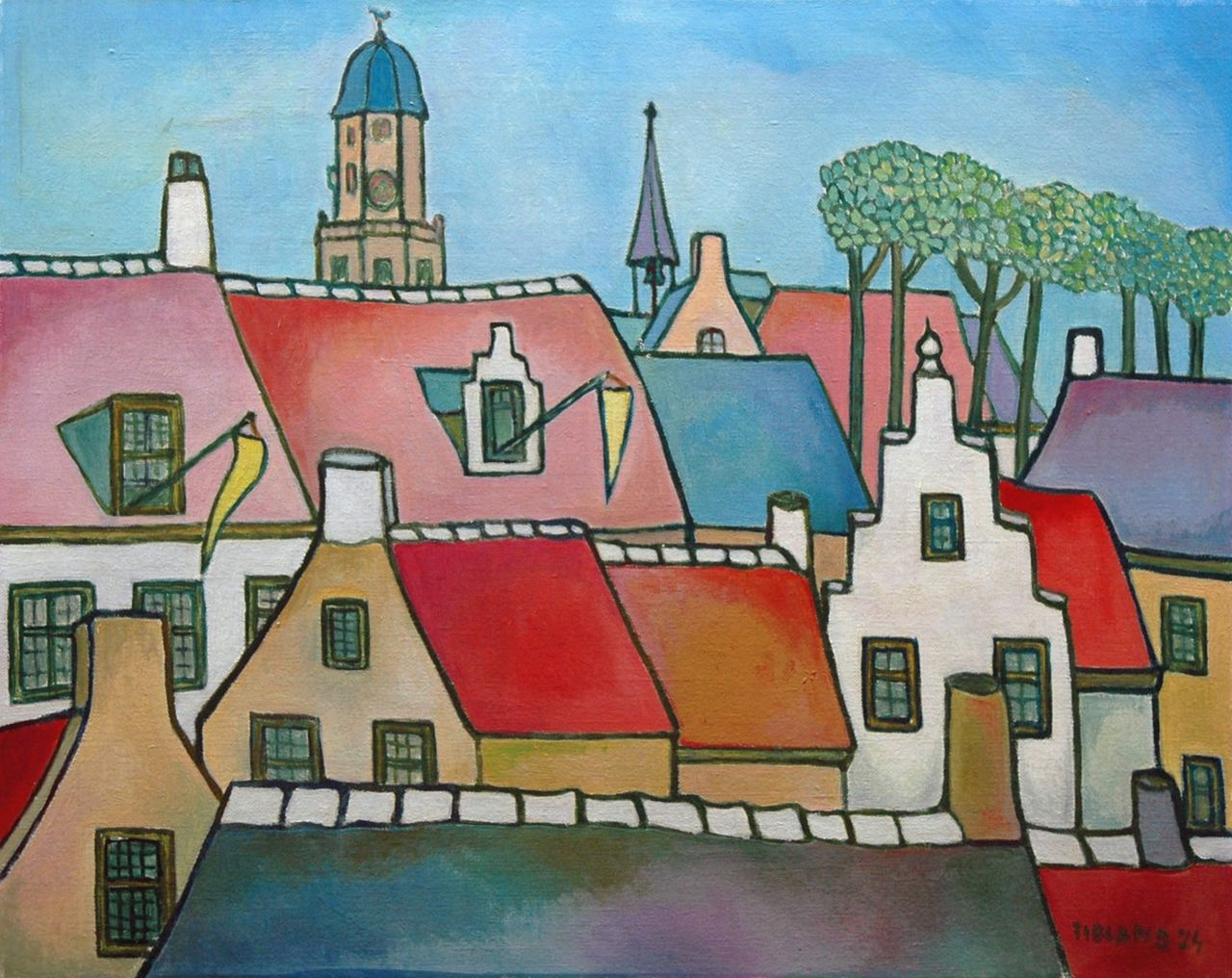 Toon Tieland | City view, oil on canvas, 40.0 x 50.0 cm, signed l.r. and dated '74