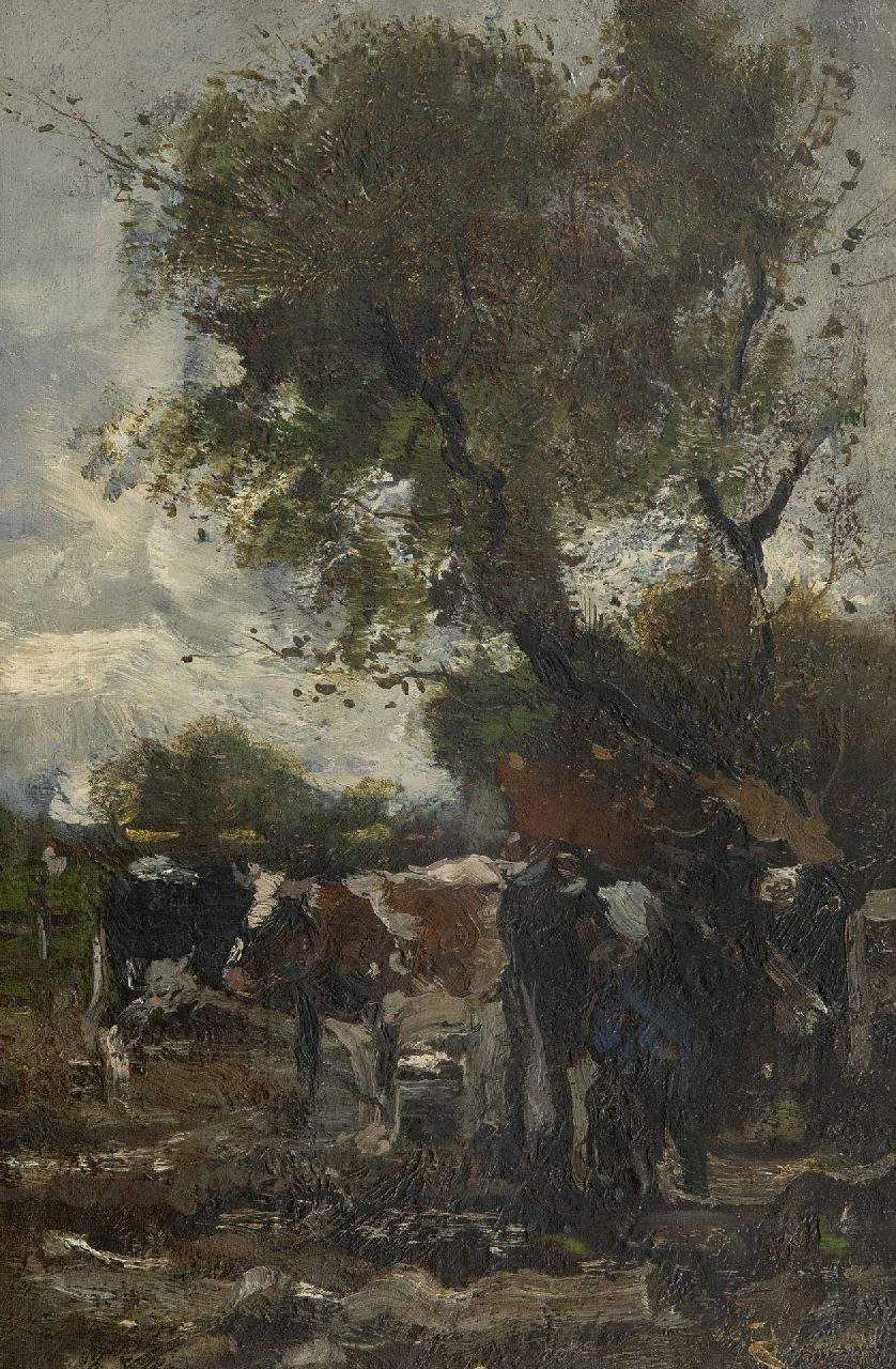 Jansen W.G.F.  | 'Willem' George Frederik Jansen | Paintings offered for sale | Milking time, oil on canvas laid down on panel 41.1 x 27.3 cm, signed l.r.