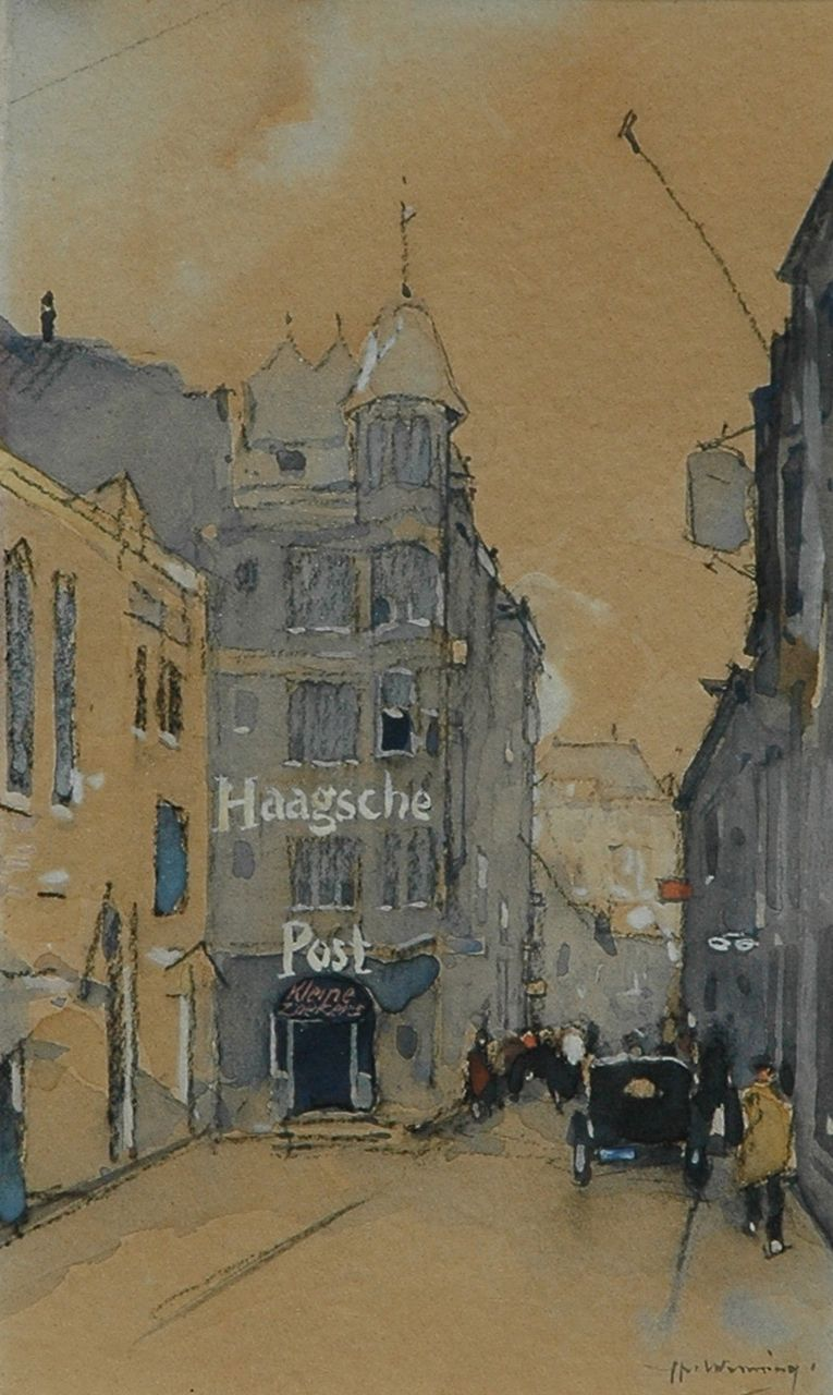 Wenning IJ.H.  | IJpe Heerke 'Ype' Wenning, Figures on a street in The Hague, black chalk and watercolour on paper 18.8 x 11.1 cm, signed l.r. and painted circa 1929