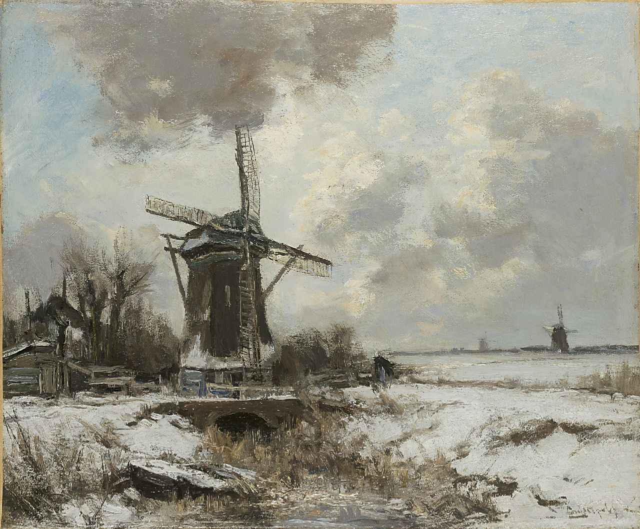 Apol L.F.H.  | Lodewijk Franciscus Hendrik 'Louis' Apol, A winter landscape with a windmill, oil on canvas 50.0 x 60.3 cm, signed l.r.