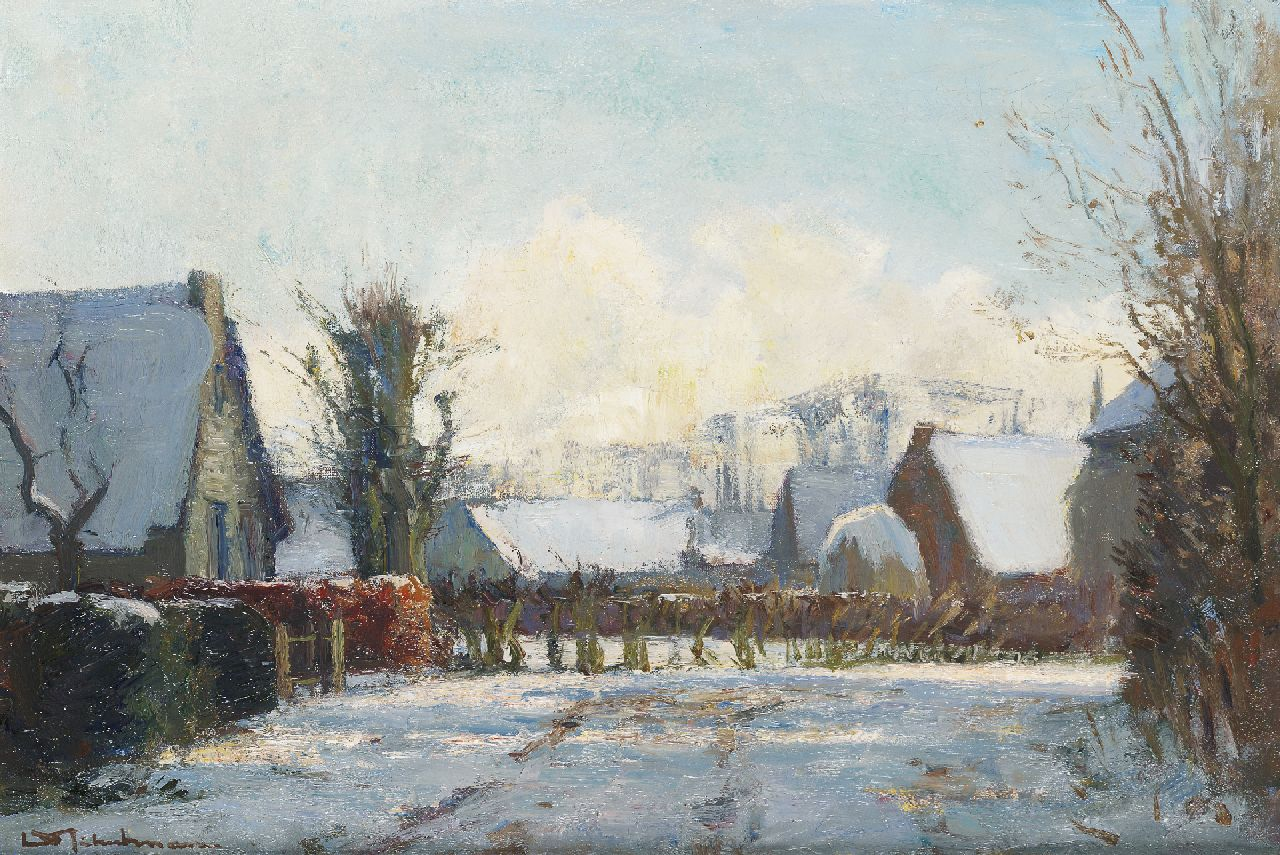 Schulman D.  | David Schulman, Snow-covered farms in Blaricum, oil on canvas 36.0 x 52.7 cm, signed l.l.