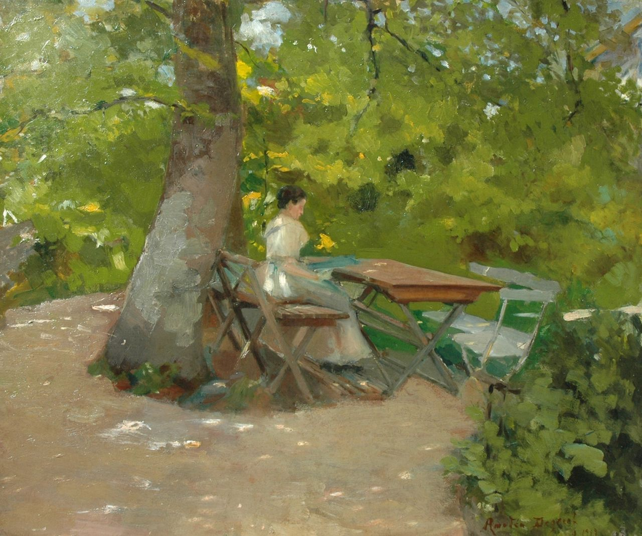 Amédée Degreef | A young woman reading in the garden, oil on canvas, 50.4 x 60.2 cm, signed l.r. and dated 1919